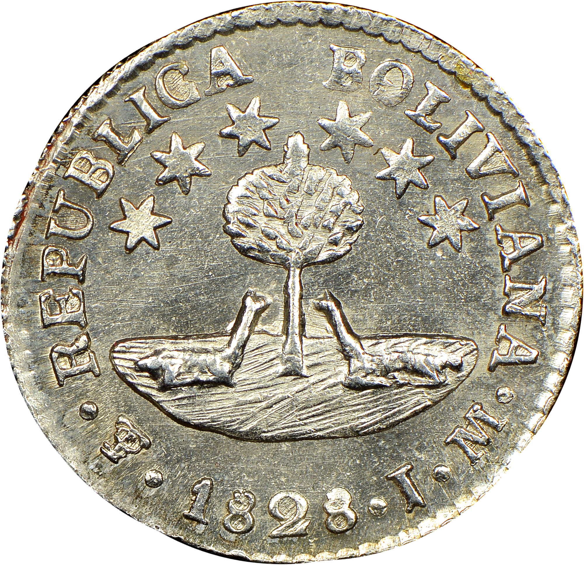 1827-1829 Bolivia 1/2 Sol reverse