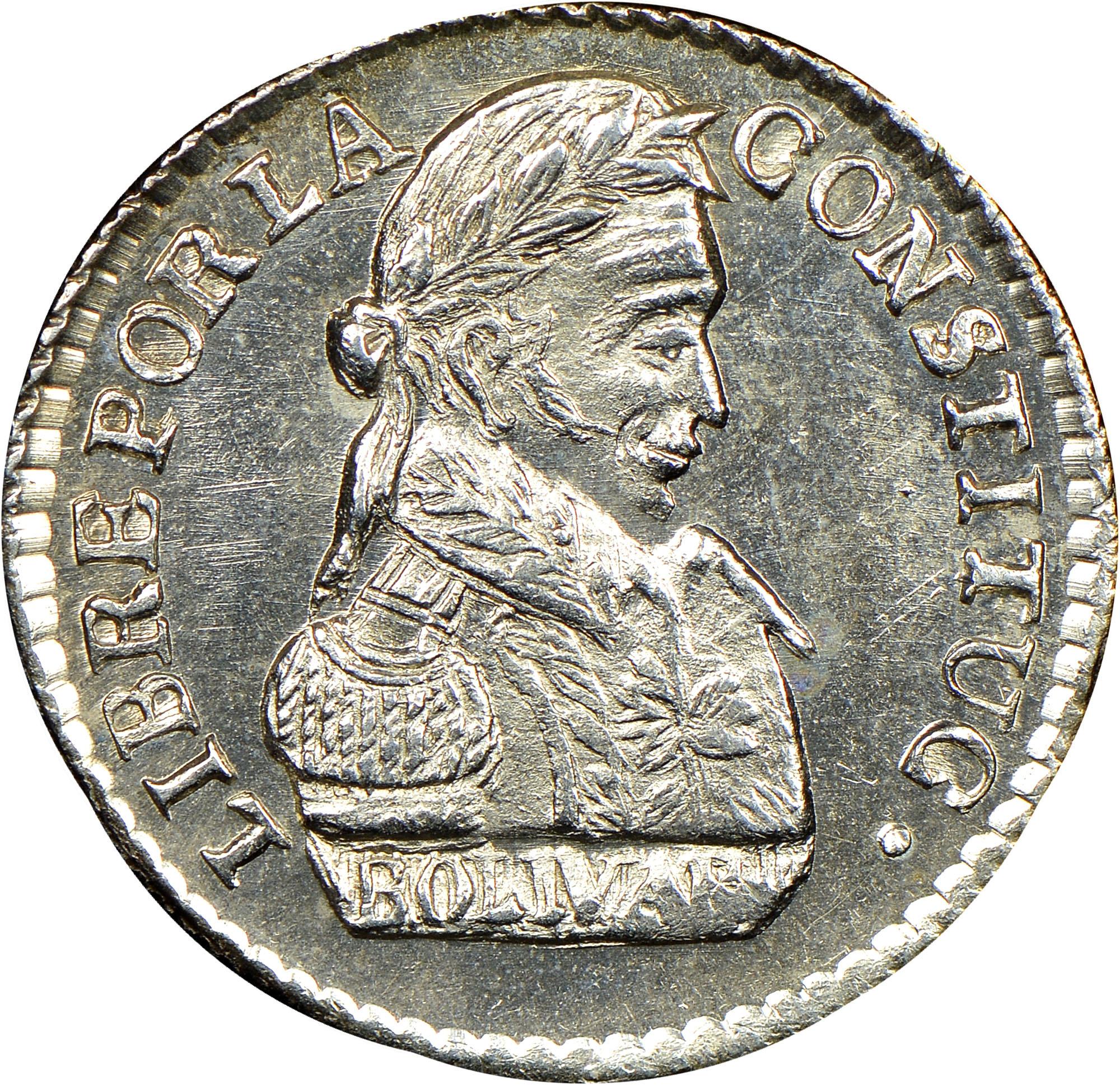 1827-1829 Bolivia 1/2 Sol obverse