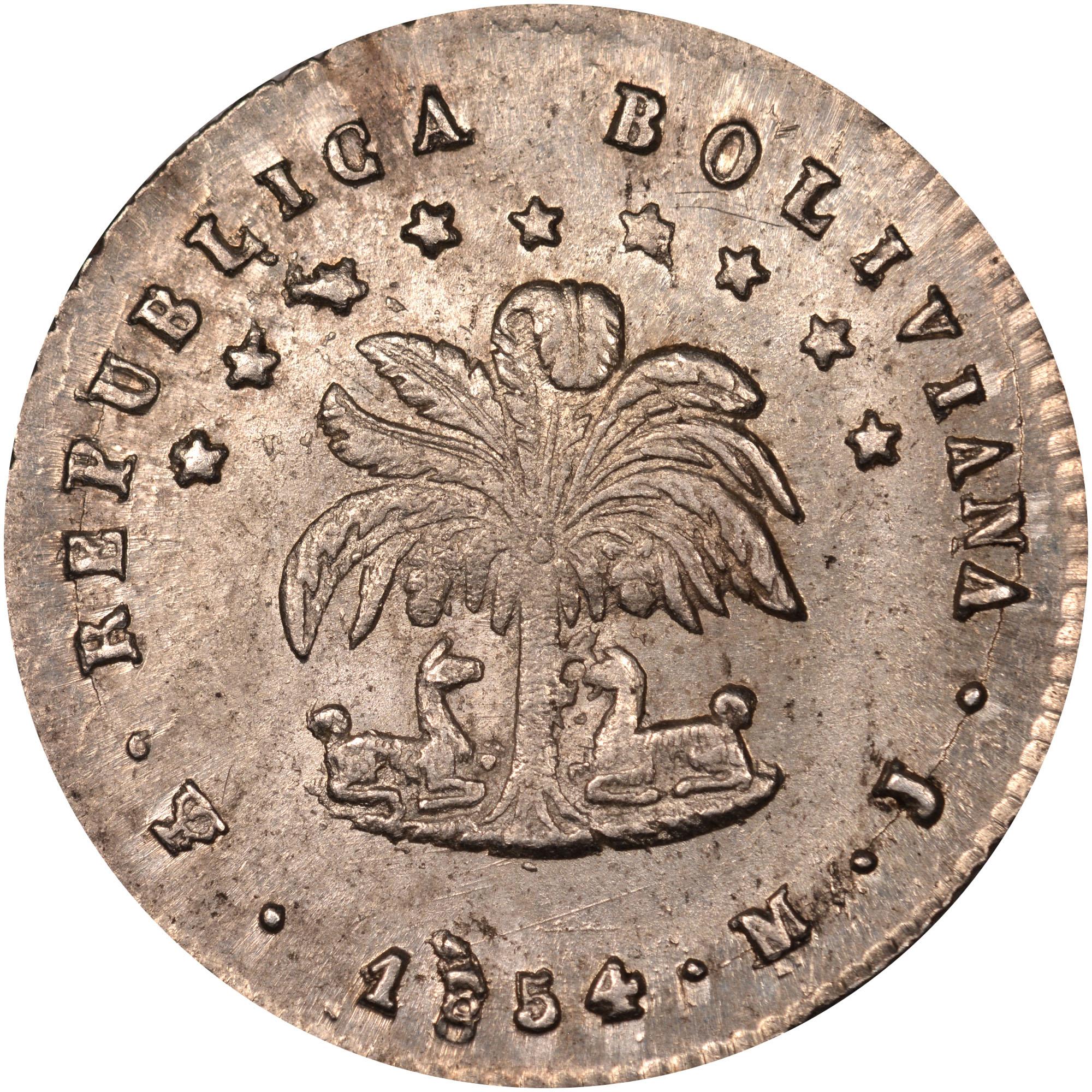 1853-1856 Bolivia 1/2 Sol obverse