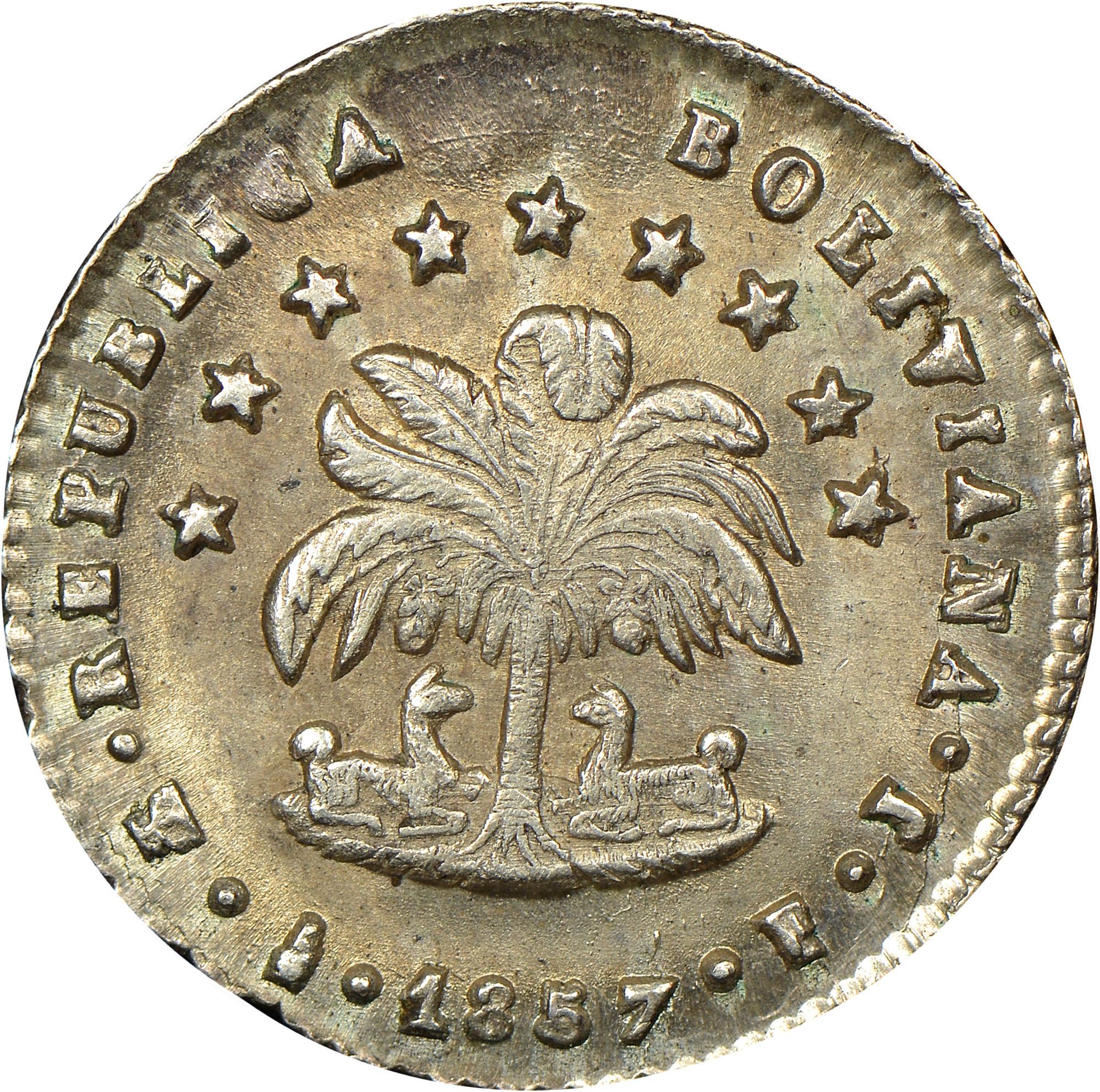 1856-1858/7 Bolivia 1/2 Sol obverse