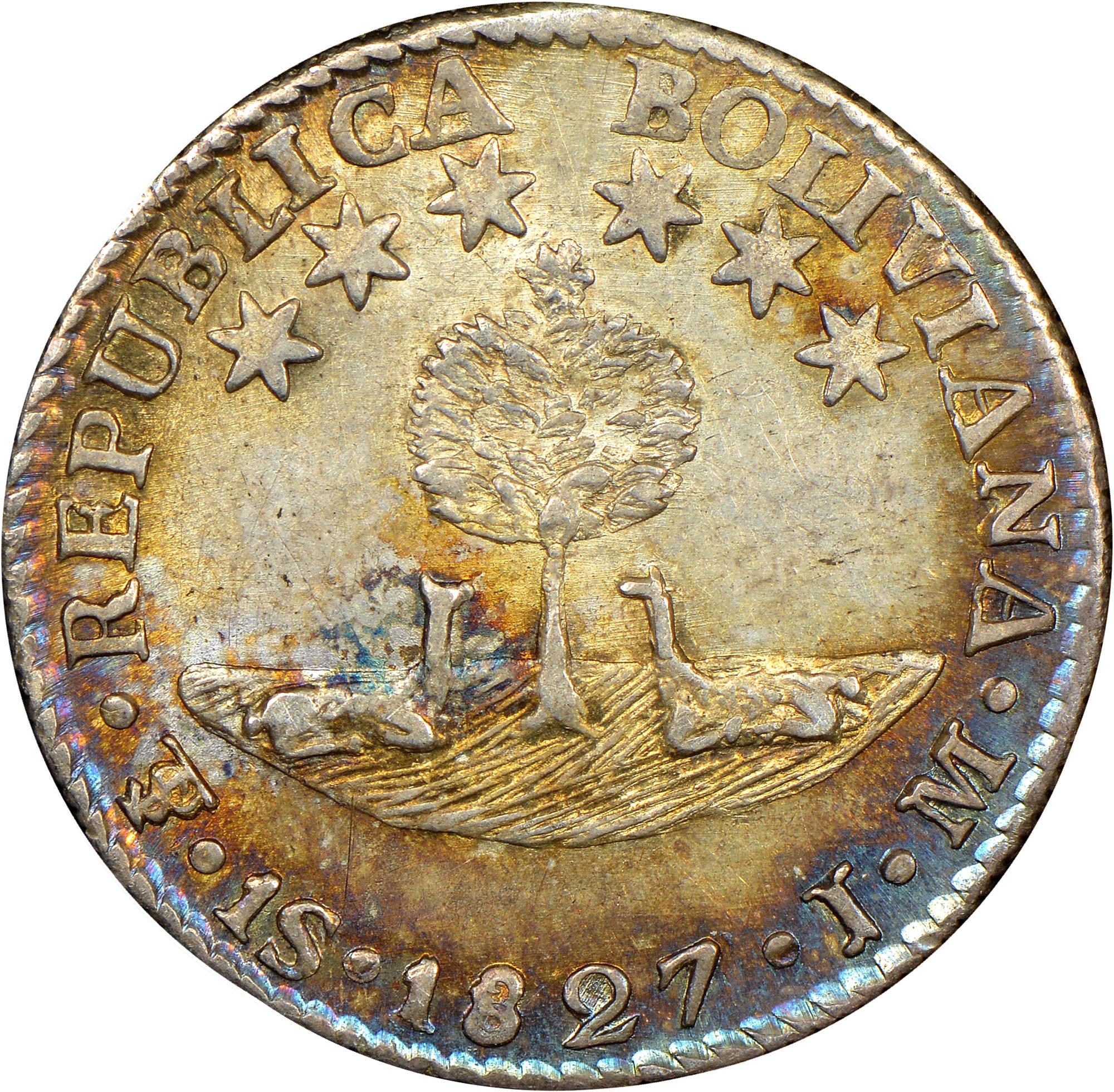 1827-1829 Bolivia Sol obverse