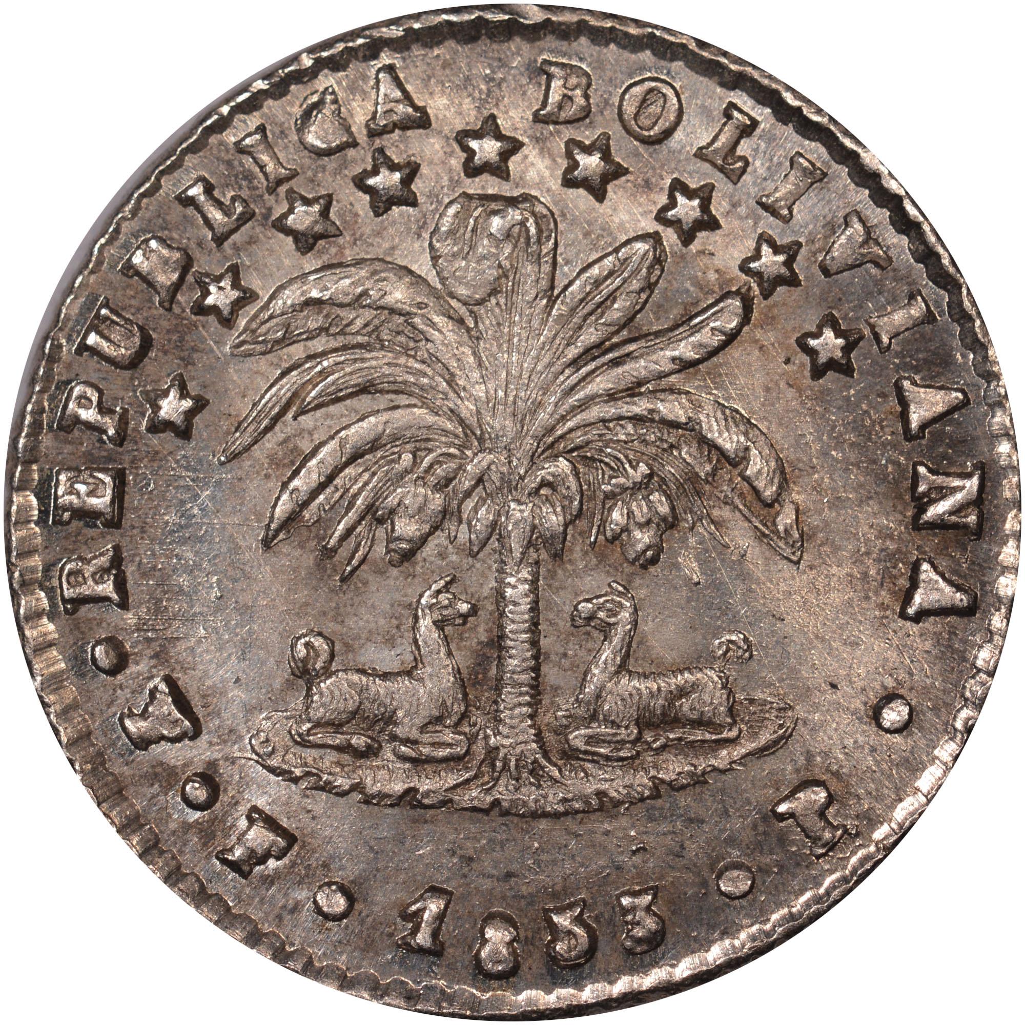 1853-1854 Bolivia Sol obverse