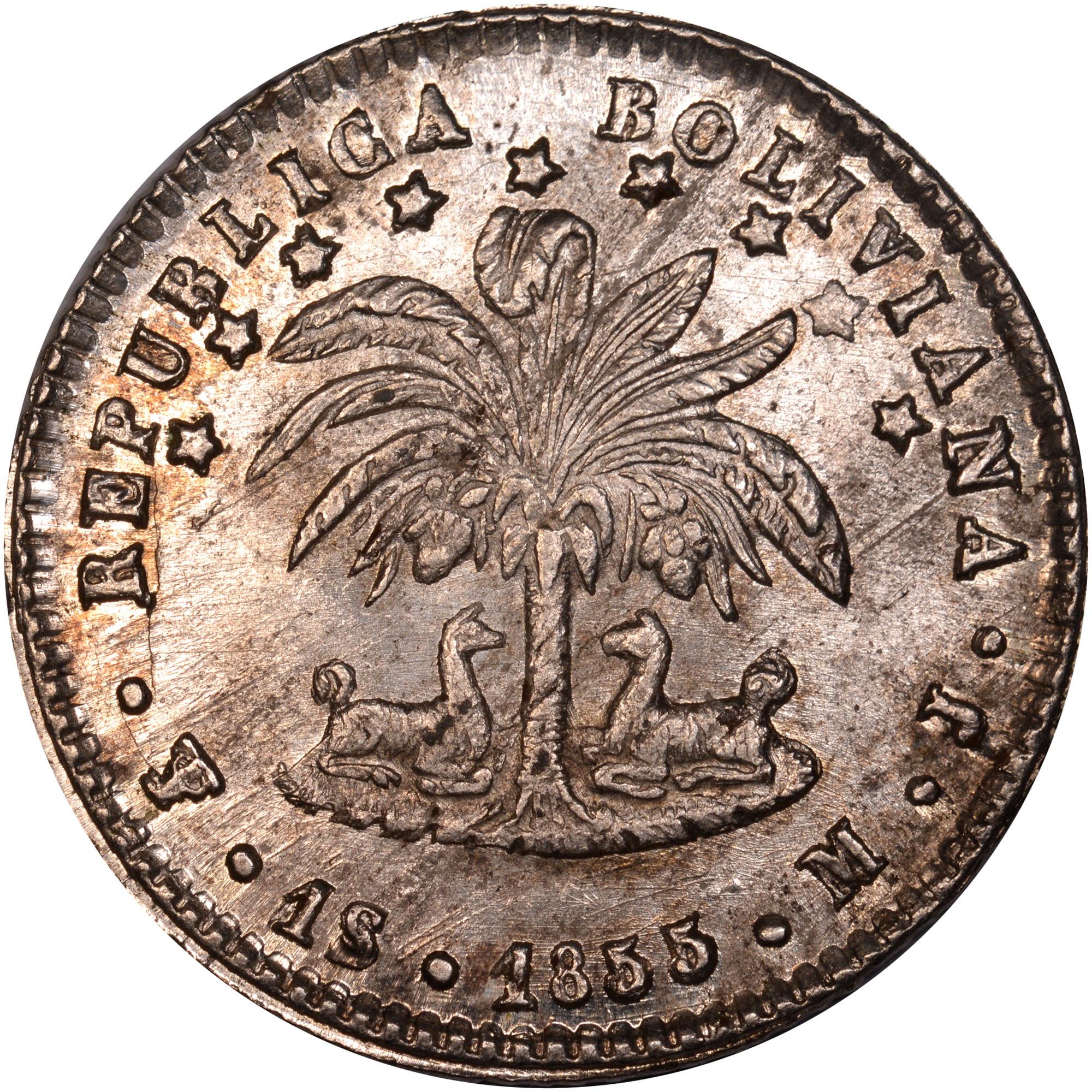 1855-1858/7 Bolivia Sol obverse