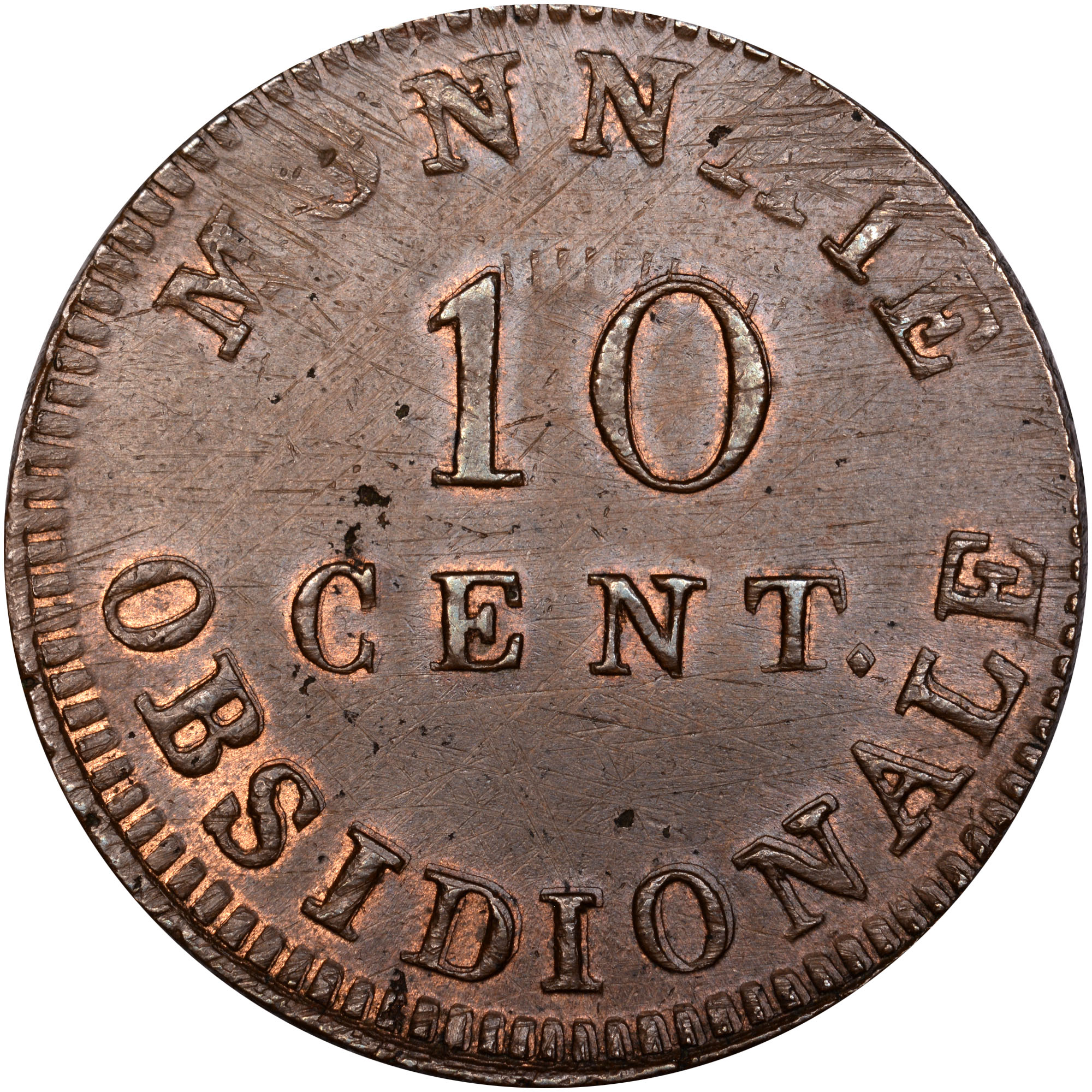 French States ANTWERP 10 Centimes reverse