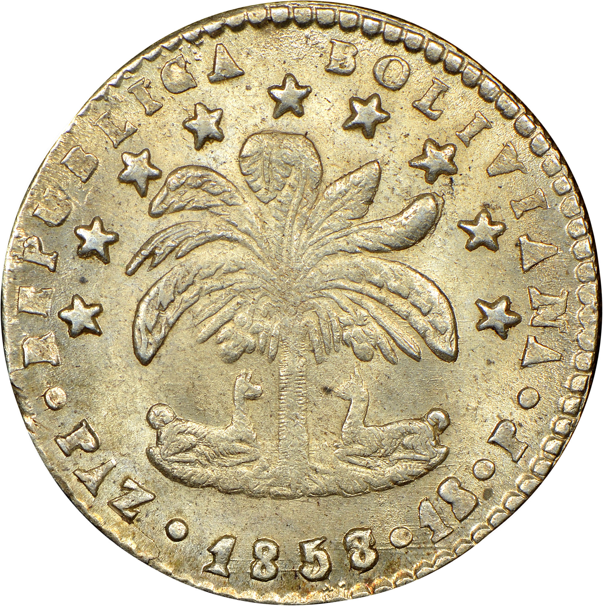 1857-1859/7 Bolivia Sol obverse