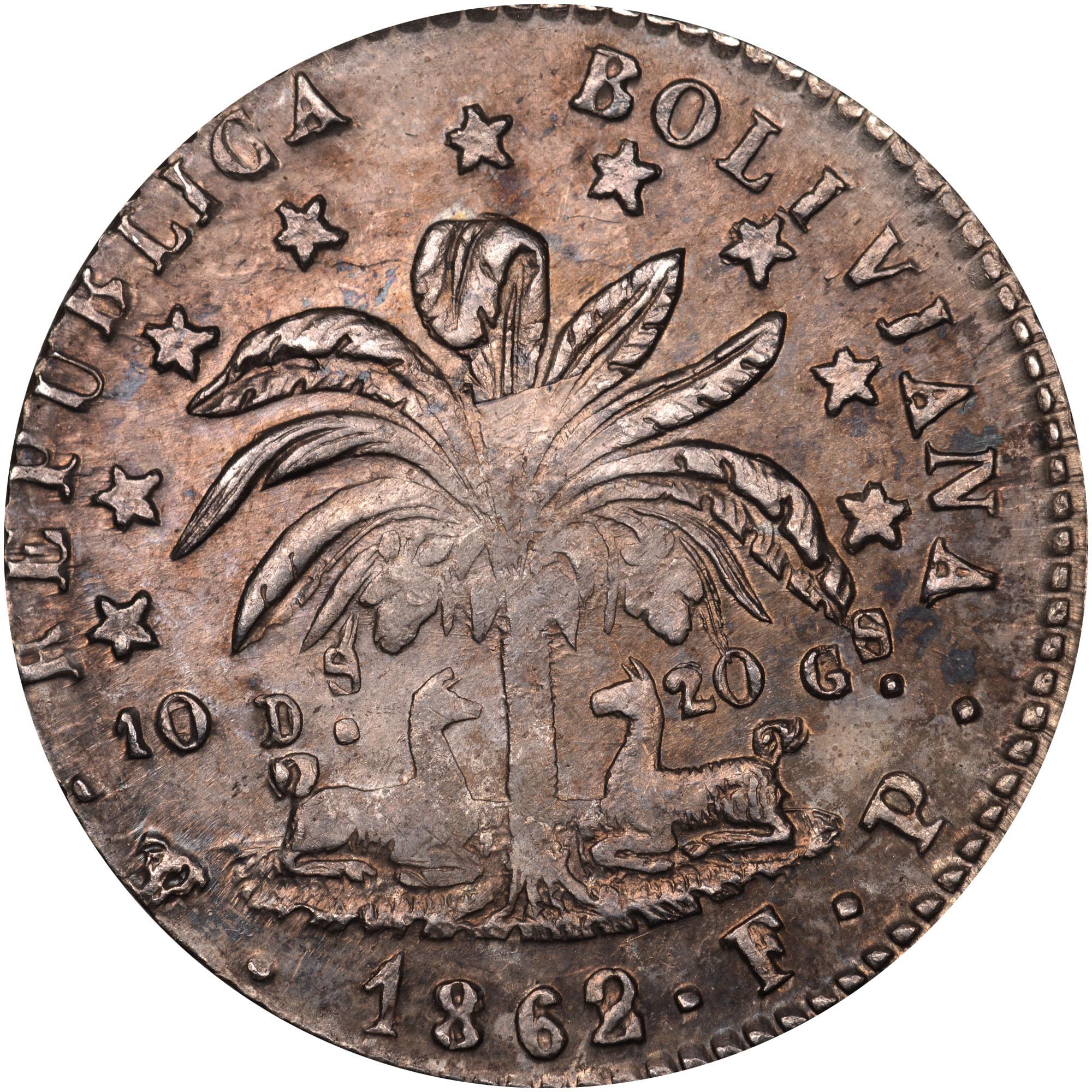 1860-1863/2 Bolivia Sol obverse