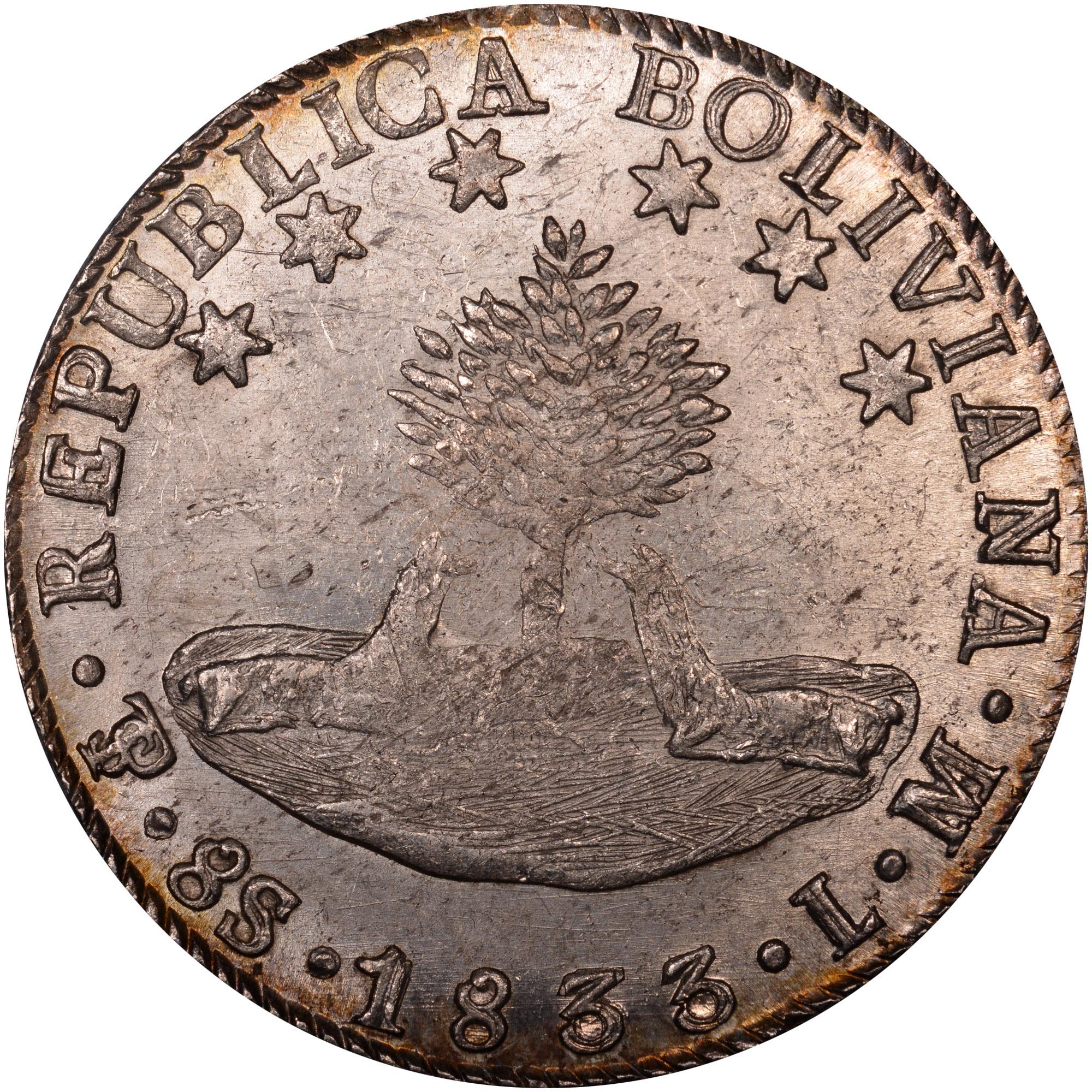 1827-1840 Bolivia 8 Soles obverse