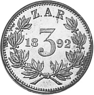 1892-1897 South Africa 3 Pence reverse