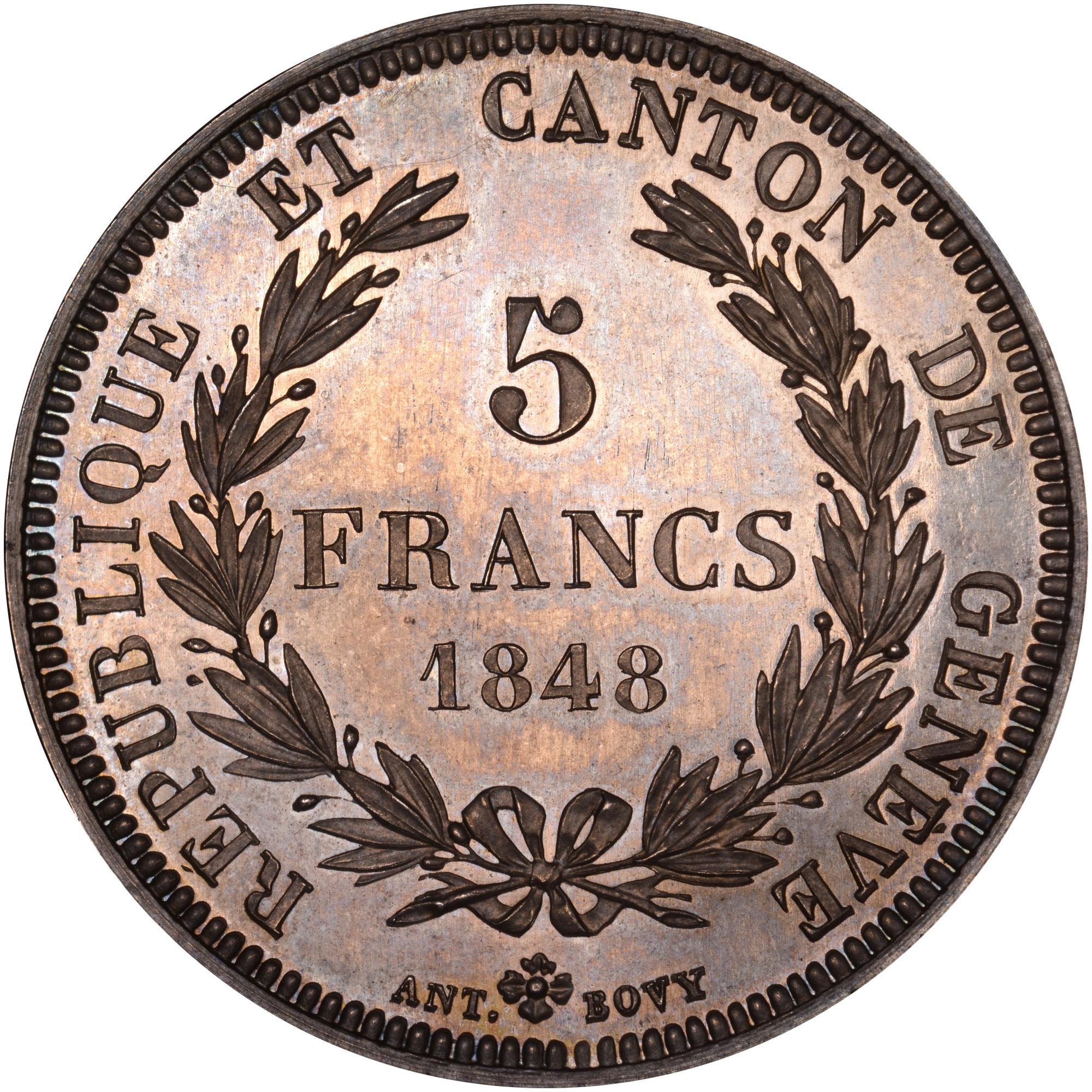 Swiss Cantons GENEVA 5 Francs reverse