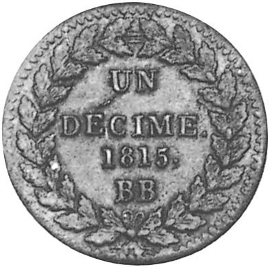 France Decime reverse
