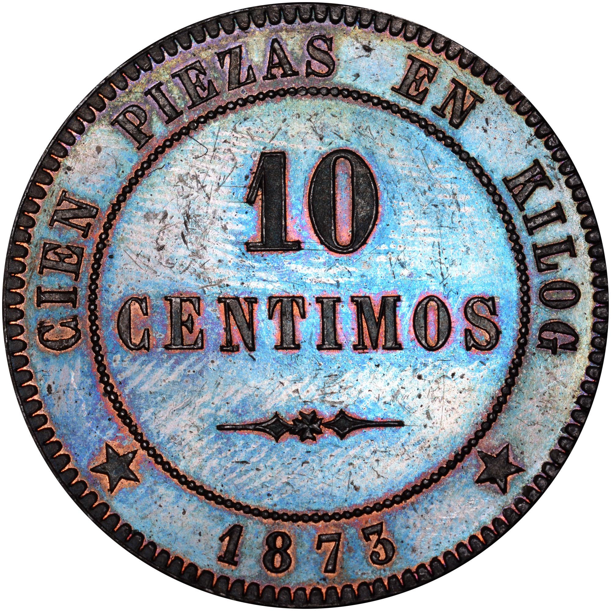 1873 Andorra 10 Centimos reverse