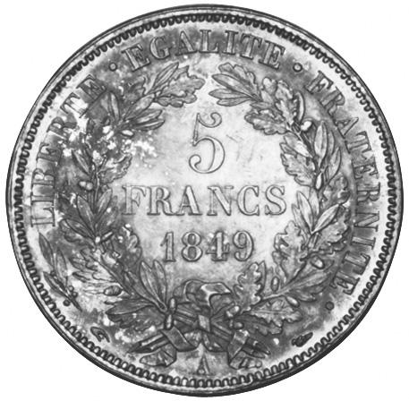 1849-1851 France 5 Francs reverse