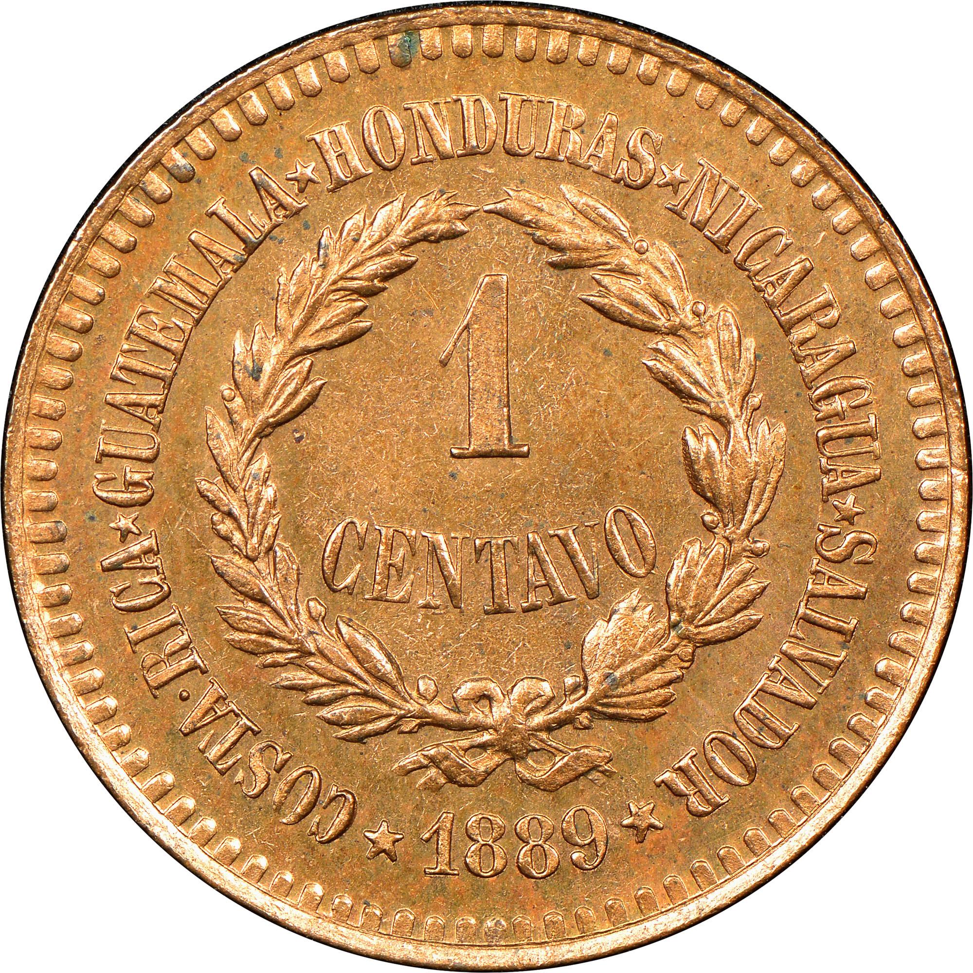 1889 Central American Union Centavo reverse