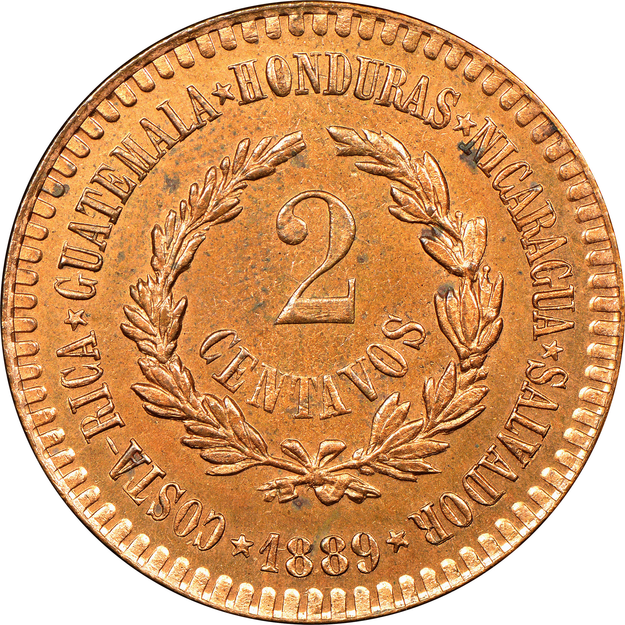 1889 Central American Union 2 Centavos reverse