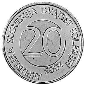Slovenia 20 Tolarjev obverse