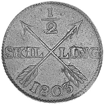 Sweden 1/2 Skilling reverse