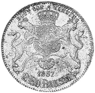 Sweden 2 Riksdaler Riksmynt reverse