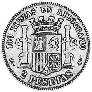 1869 (68)-1870 (75) Spain 2 Pesetas reverse
