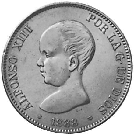 1888 (88)-1892 (92) Spain 5 Pesetas obverse