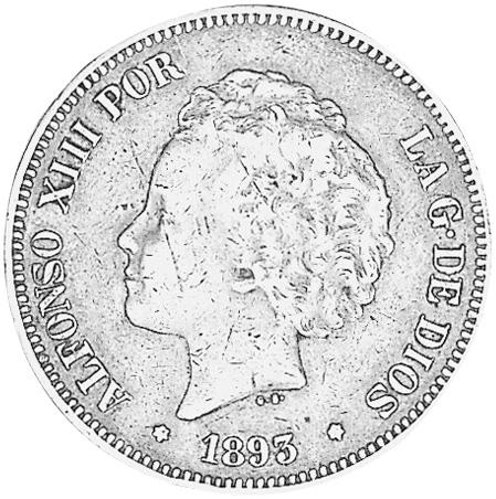 1892 (92)-1894 (94) Spain 5 Pesetas obverse