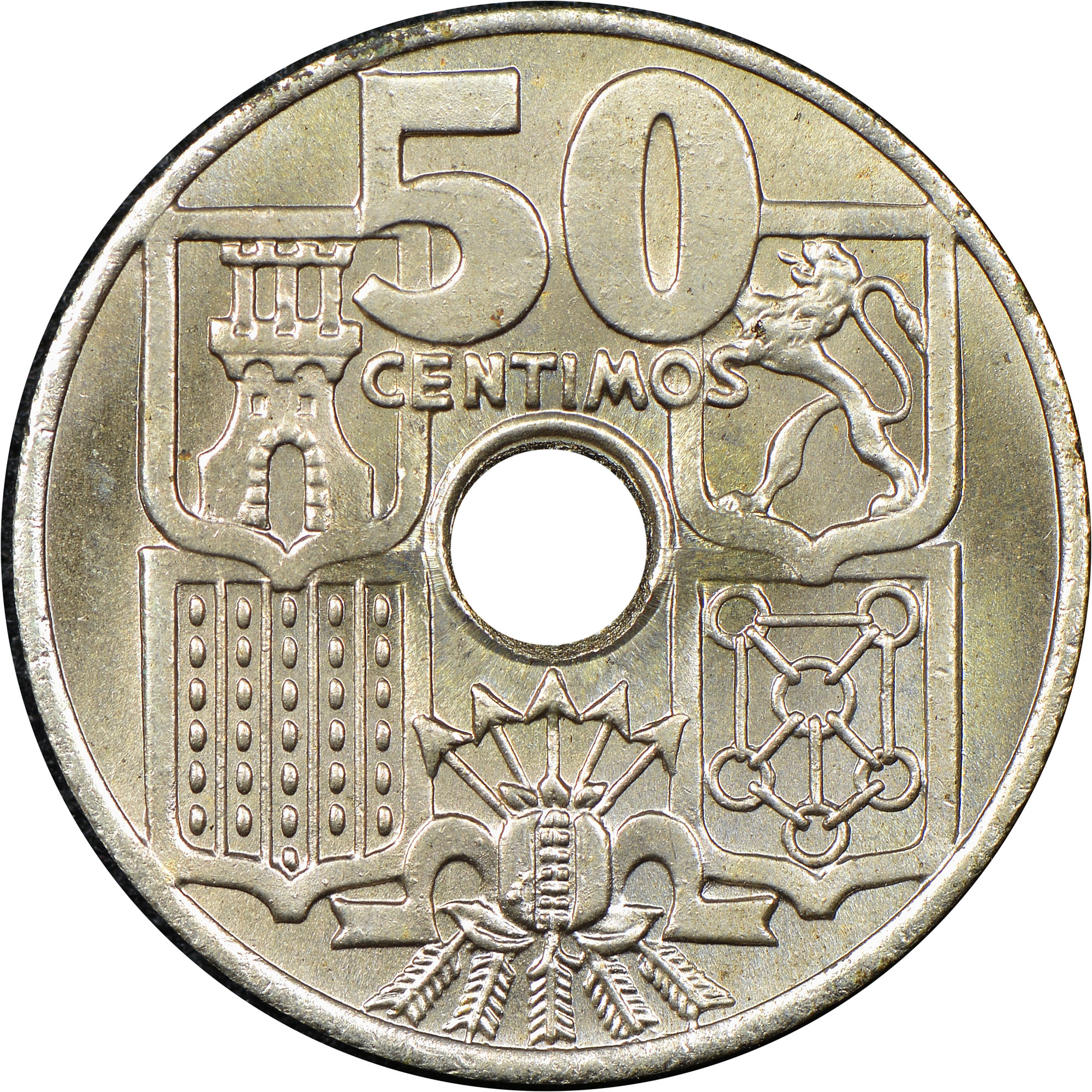 - 50 Centimos Copper-Nickel Coin hole in center Spain 1949 Anchor 51