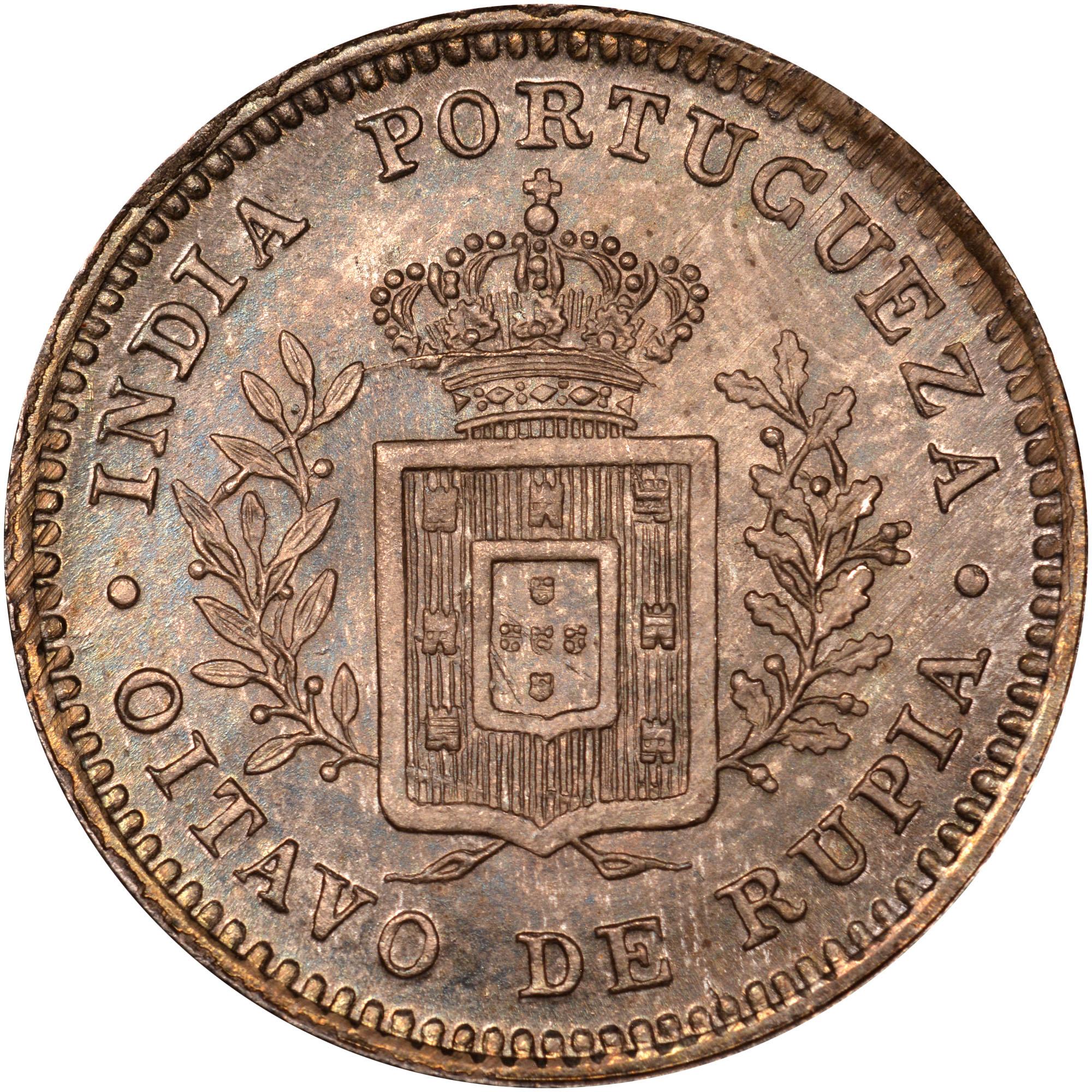 India-Portuguese GOA 1/8 Rupia reverse