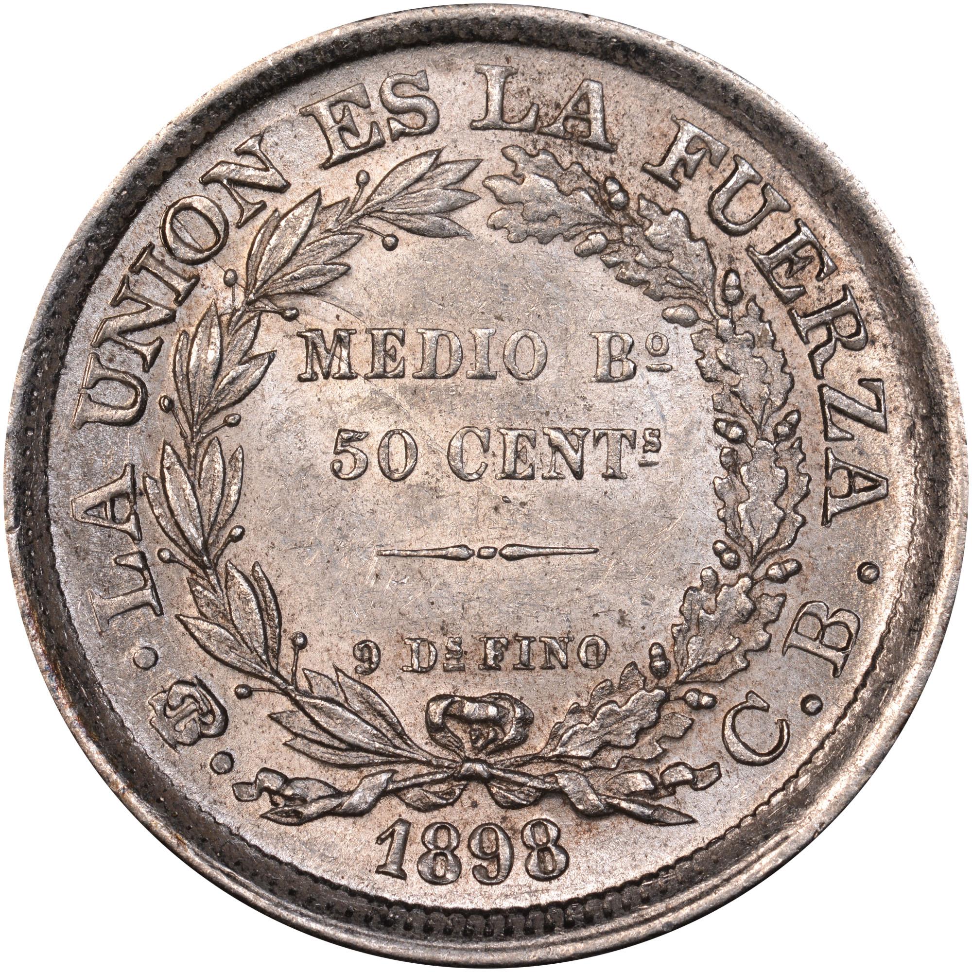 1891-1900 Bolivia 50 Centavos, 1/2 Boliviano reverse