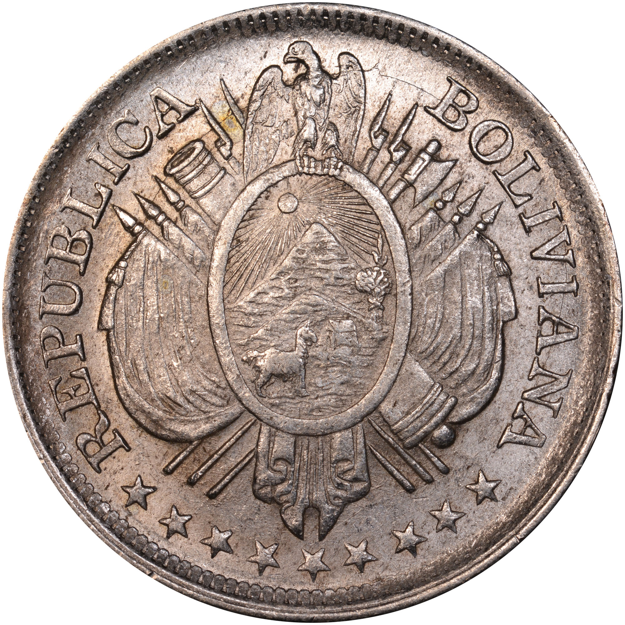 1891-1900 Bolivia 50 Centavos, 1/2 Boliviano obverse