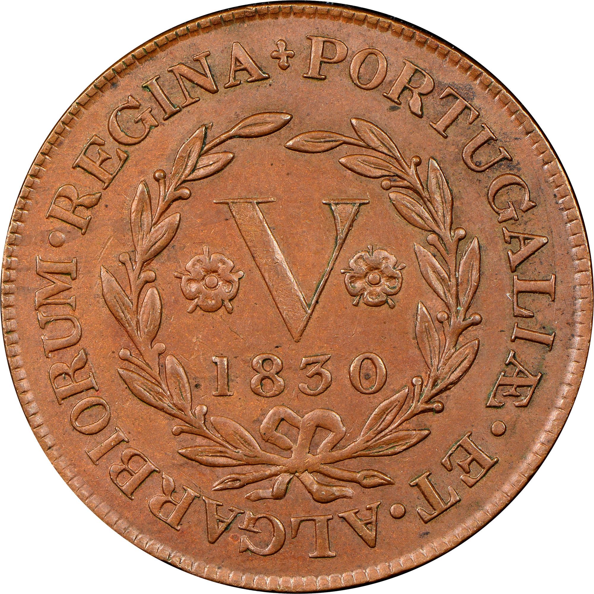 1830 Azores TERCEIRA ISLAND 5 Reis reverse