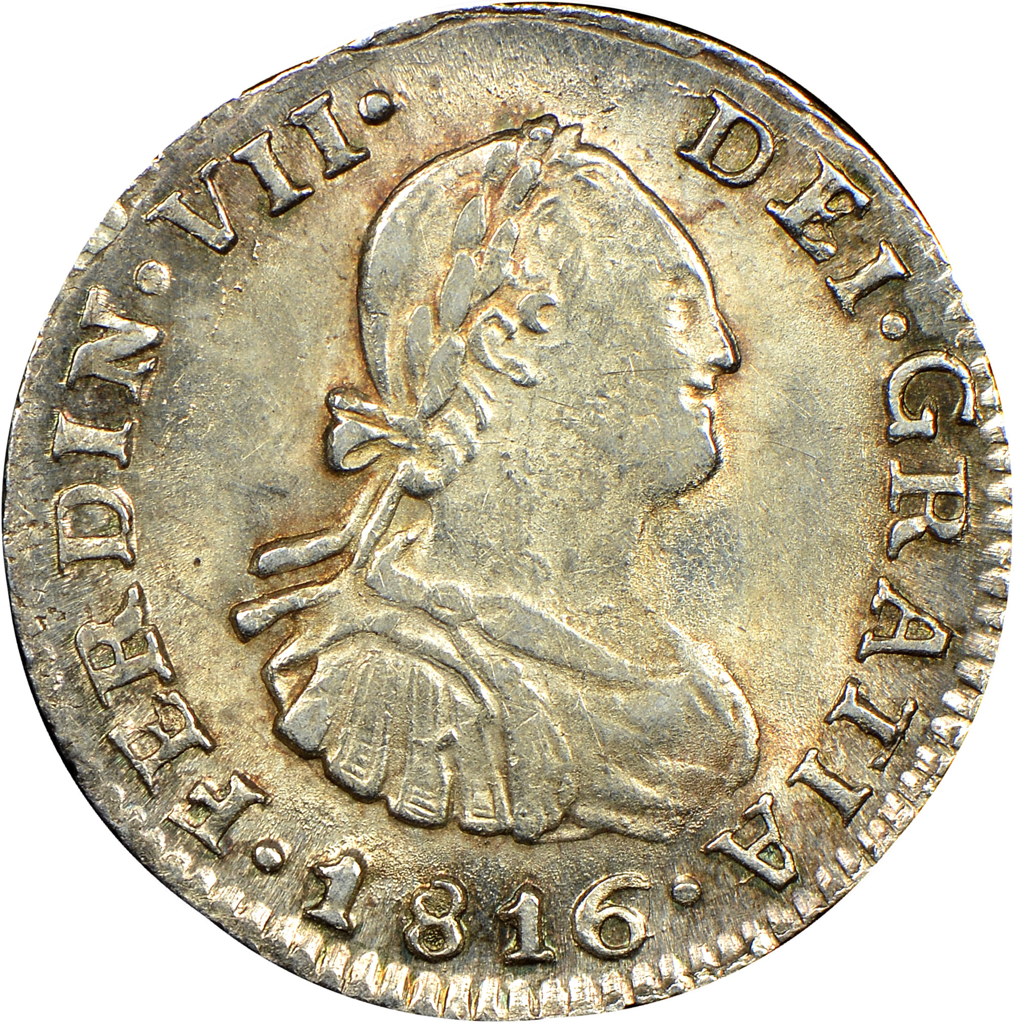 1808-1817 Chile 1/2 Real obverse