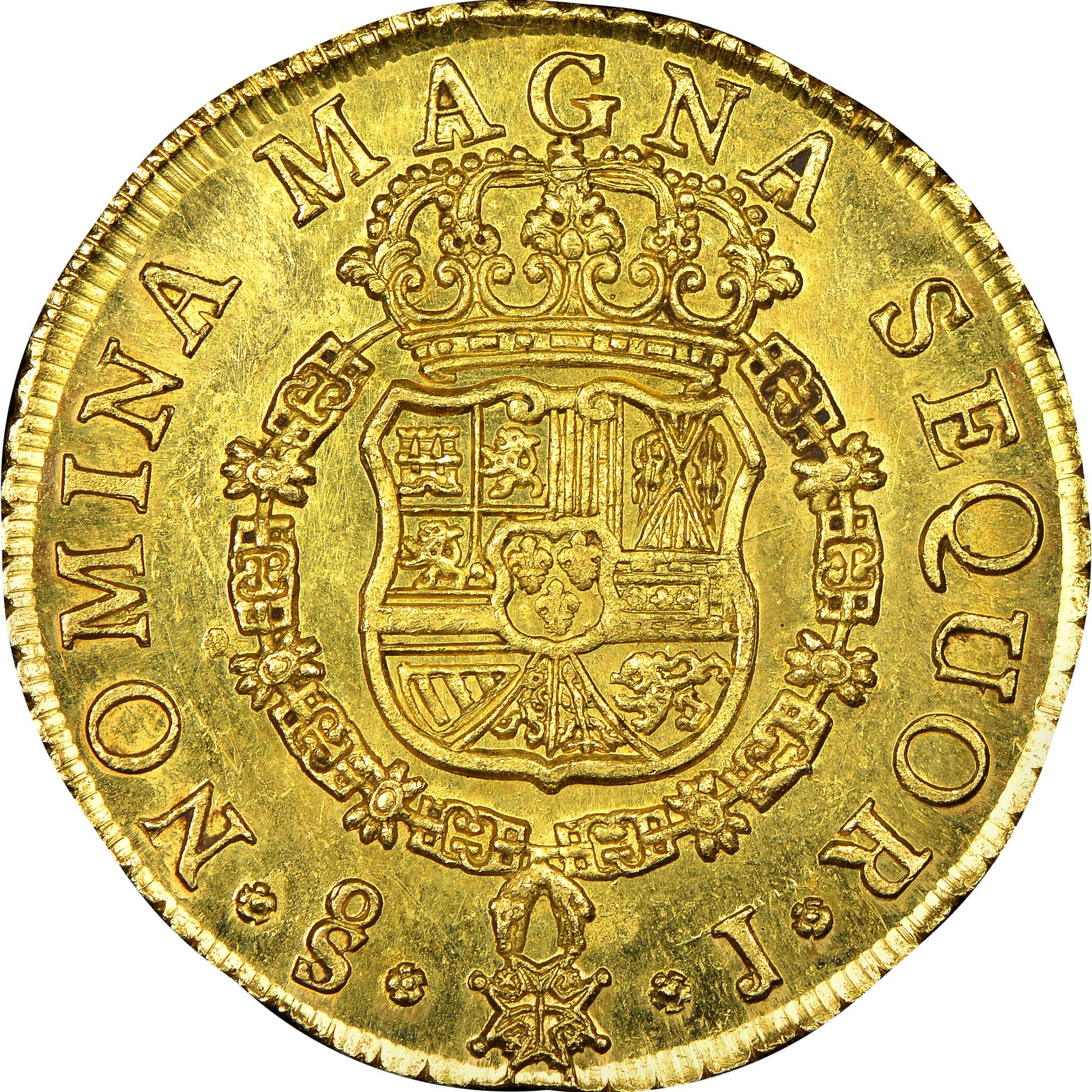 1750-1758/7 Chile 8 Escudos reverse