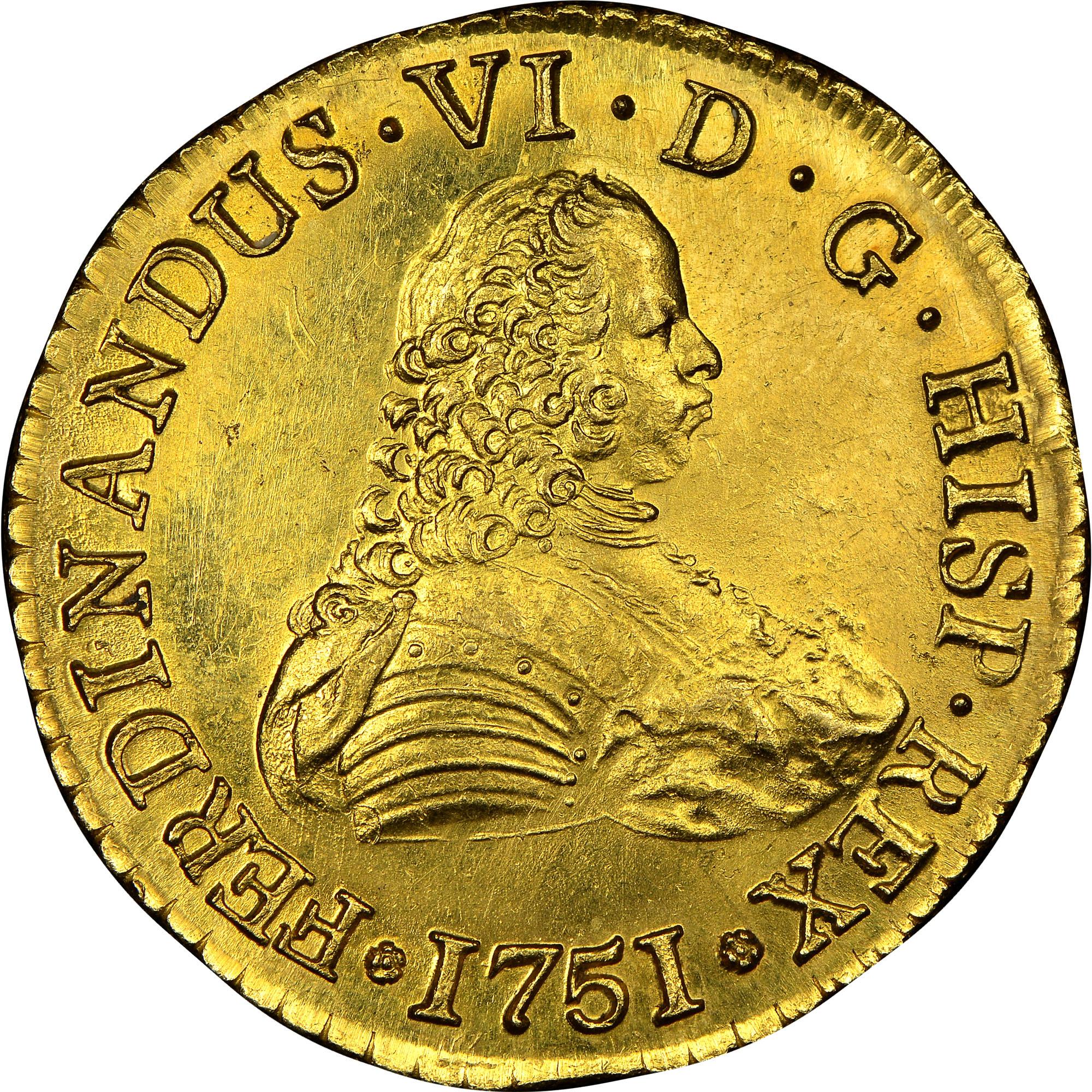 1750-1758/7 Chile 8 Escudos obverse