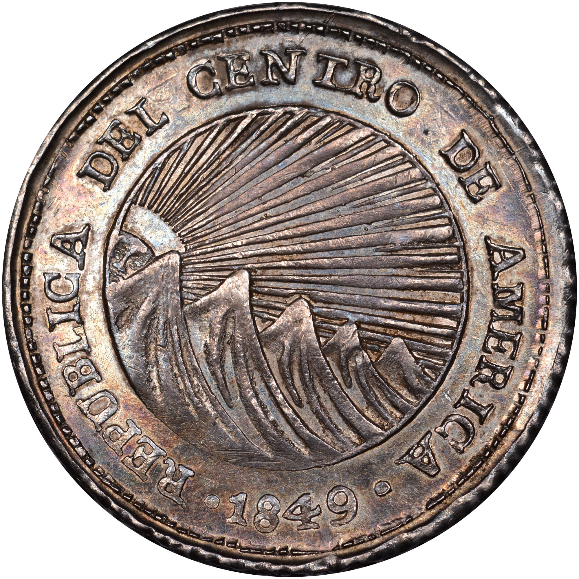 1849 Central American Republic 2 Reales obverse
