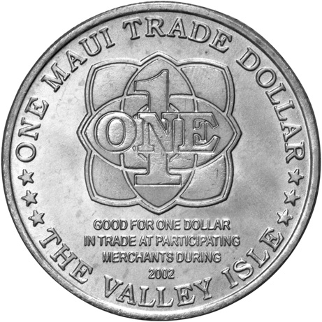 2002 Hawaii Maui Trade Dollar reverse