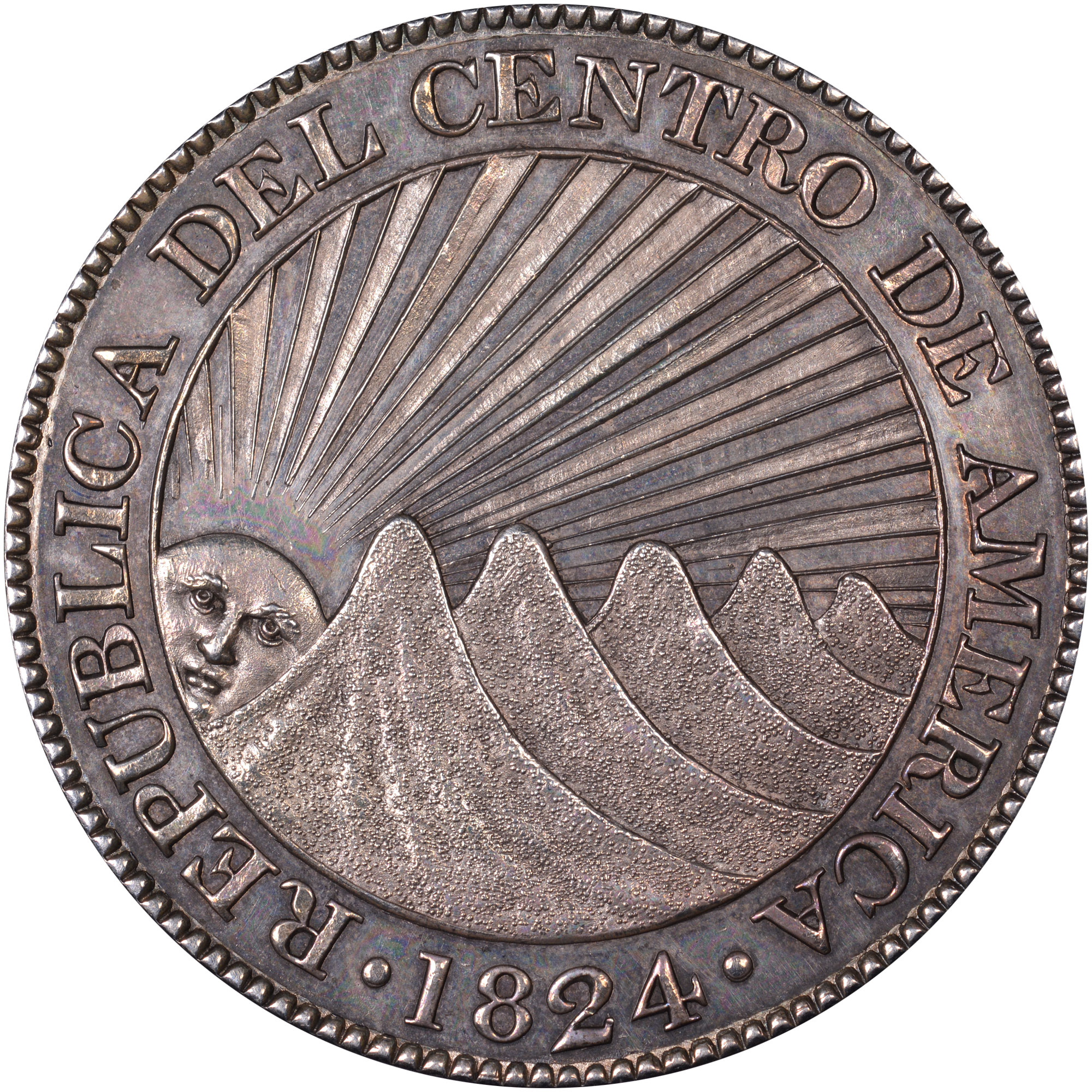 1824-1847/6 Central American Republic 8 Reales obverse