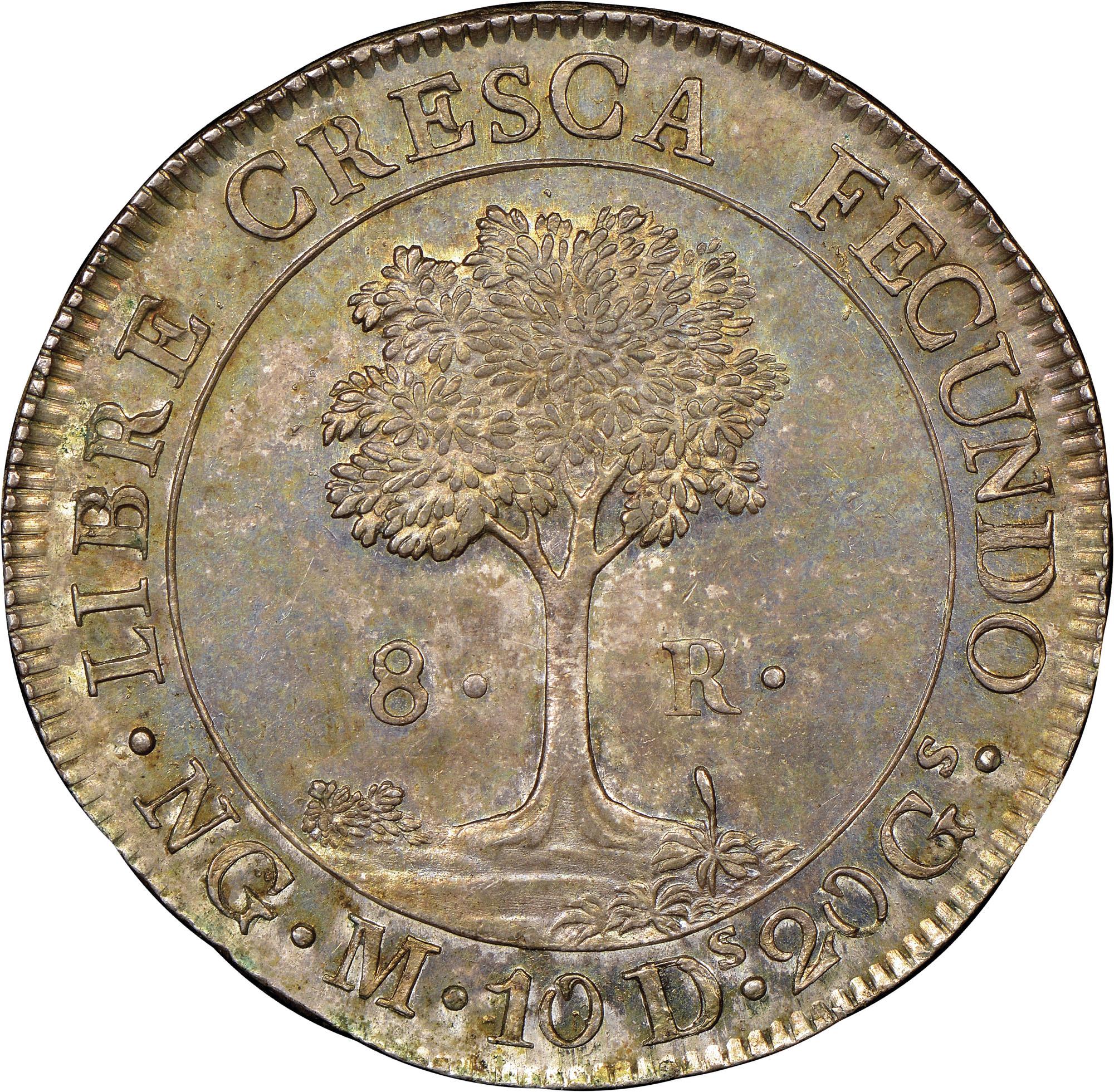 1824-1847/6 Central American Republic 8 Reales reverse