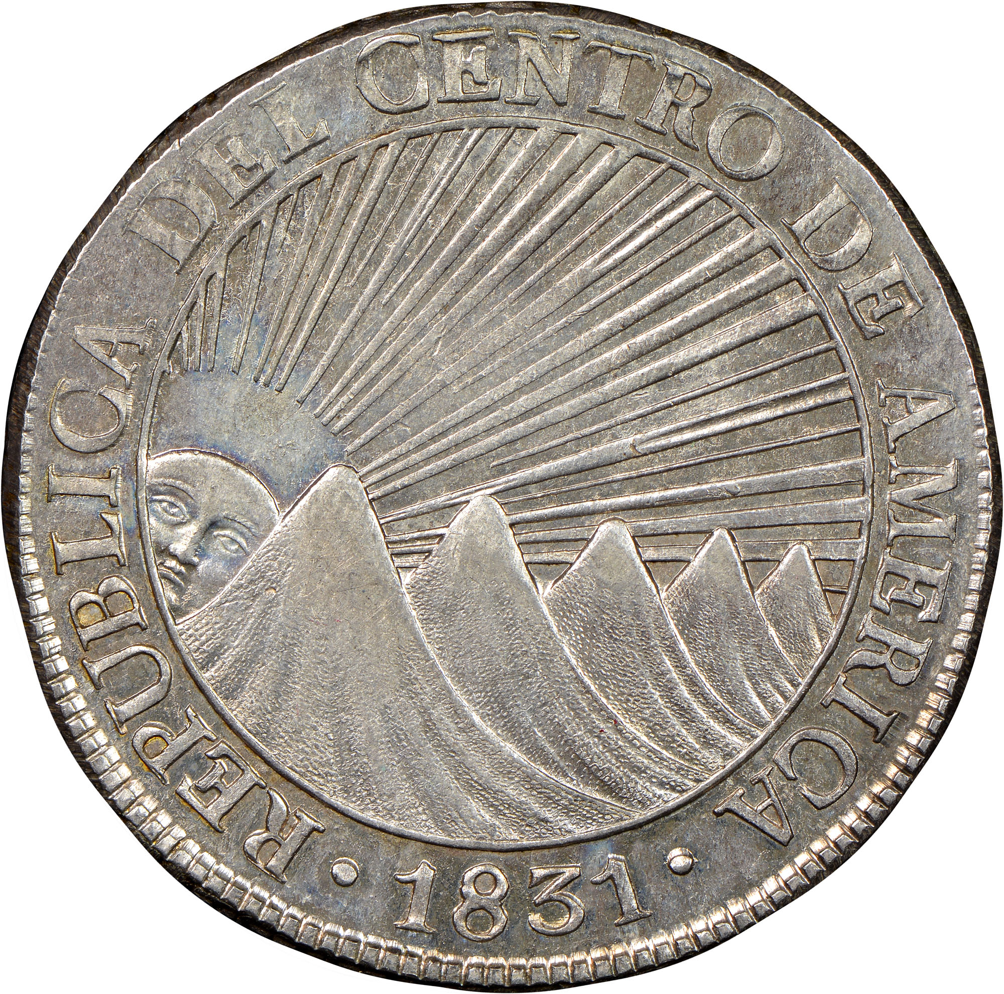 1831 Central American Republic 8 Reales obverse