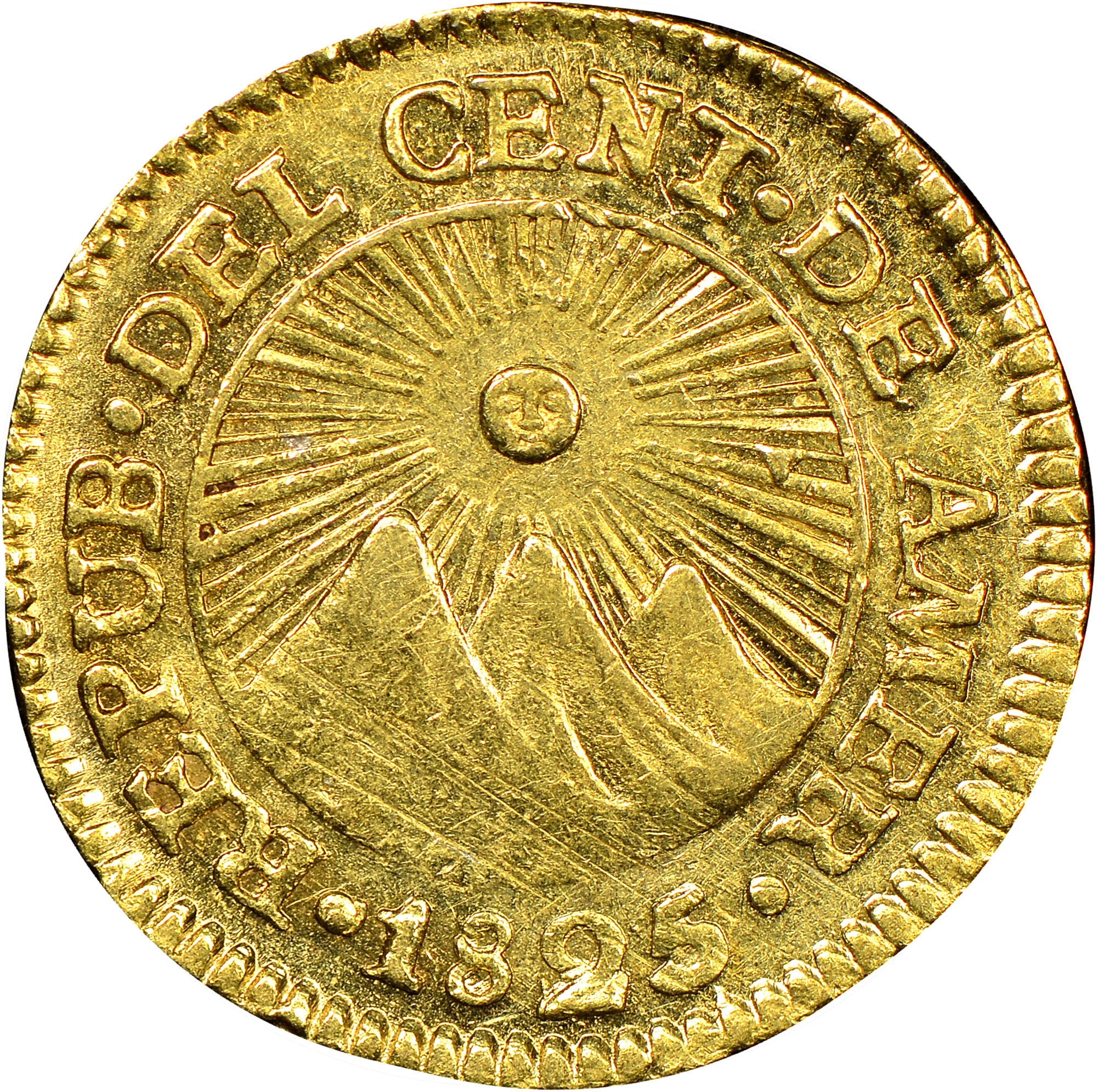 1824-1843 Central American Republic 1/2 Escudo obverse