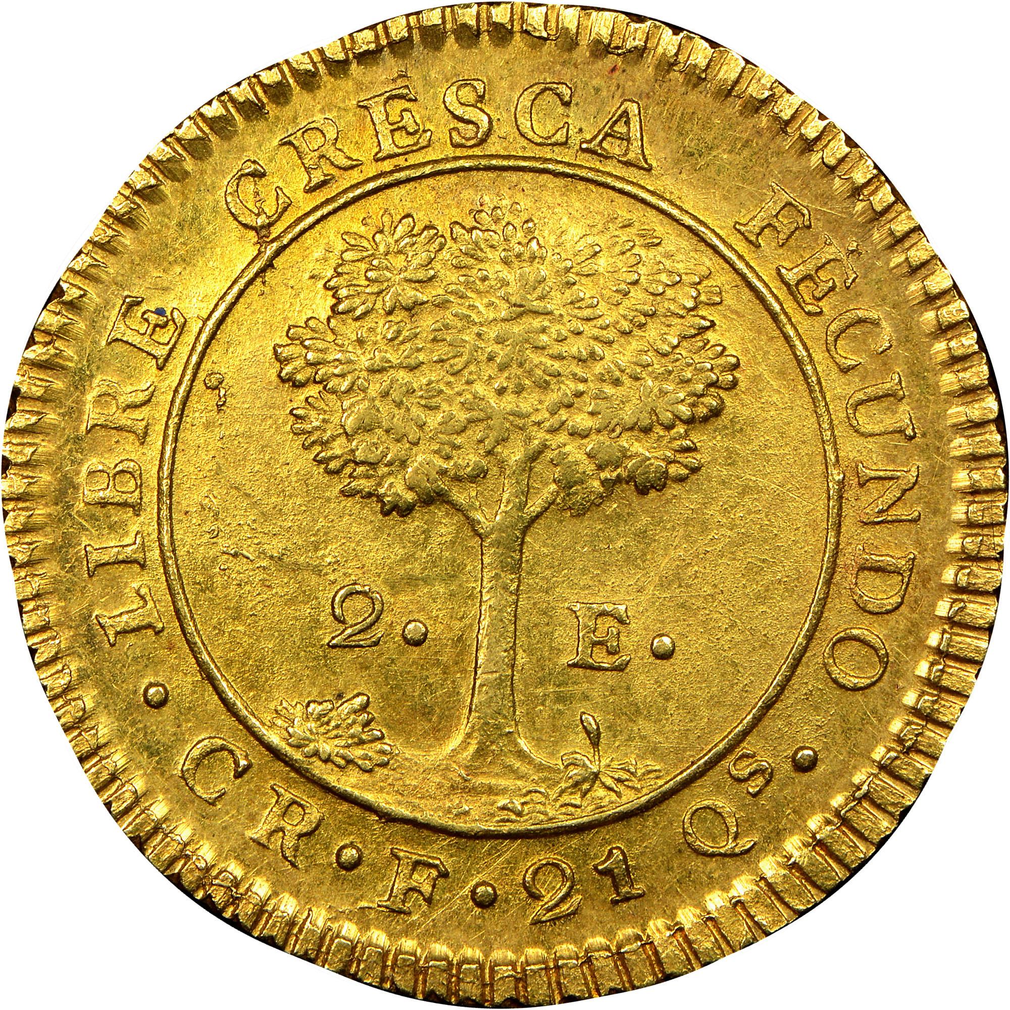 1828-1850 Central American Republic 2 Escudos reverse