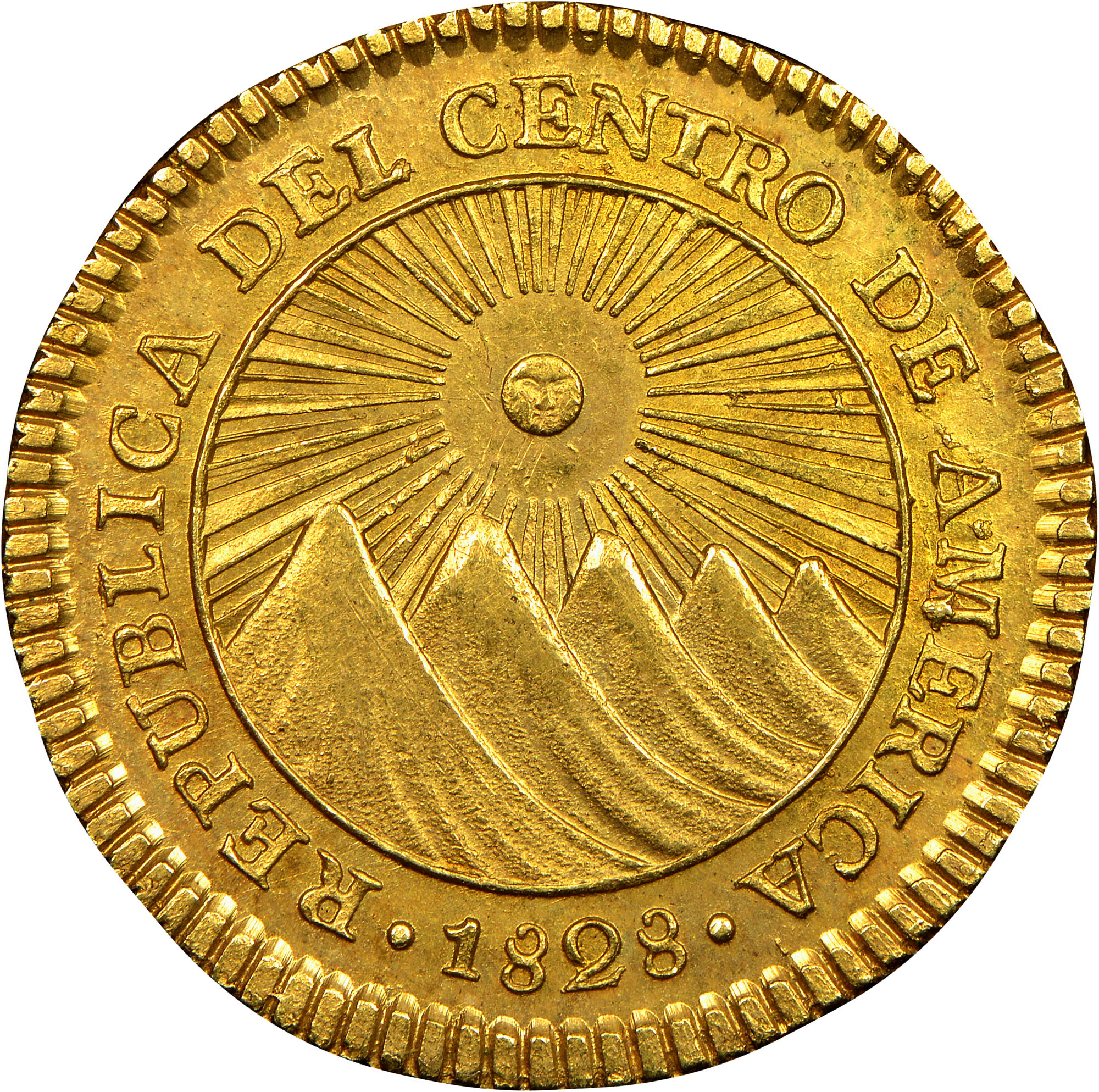 1828-1850 Central American Republic 2 Escudos obverse