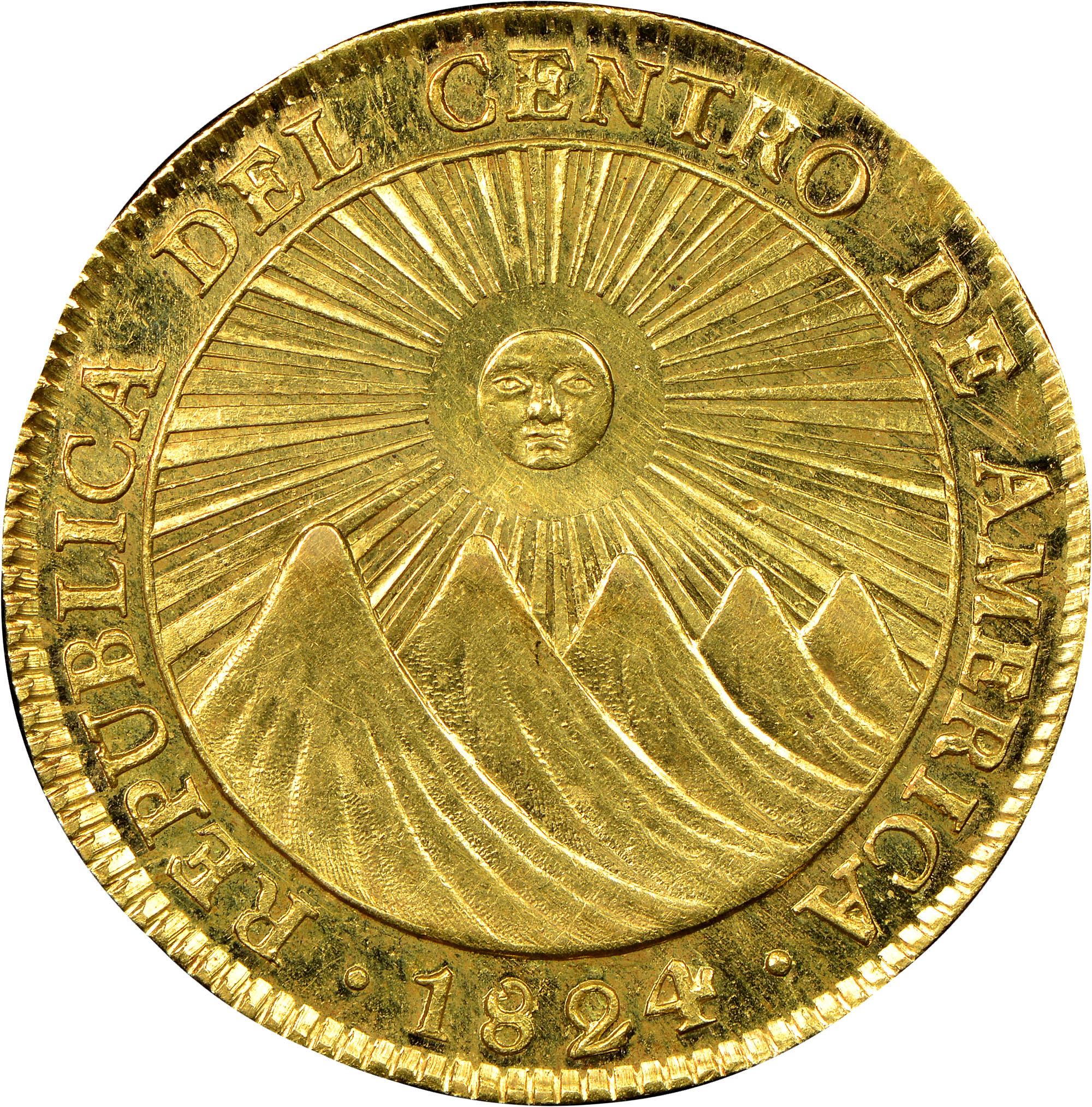 1824-1825 Central American Republic 4 Escudos obverse