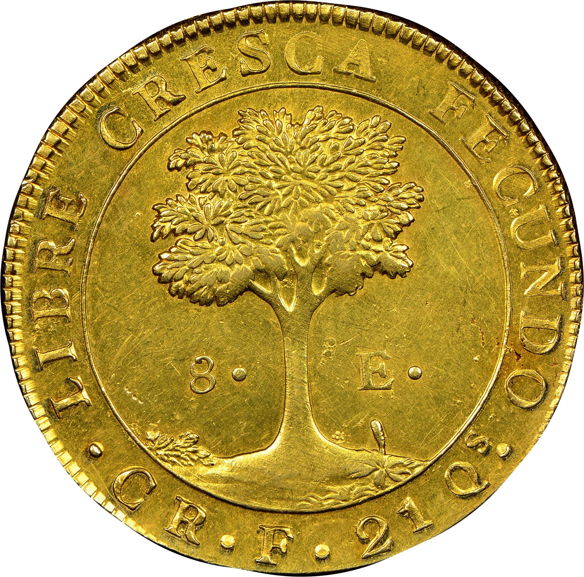 1828-1837 Central American Republic 8 Escudos reverse