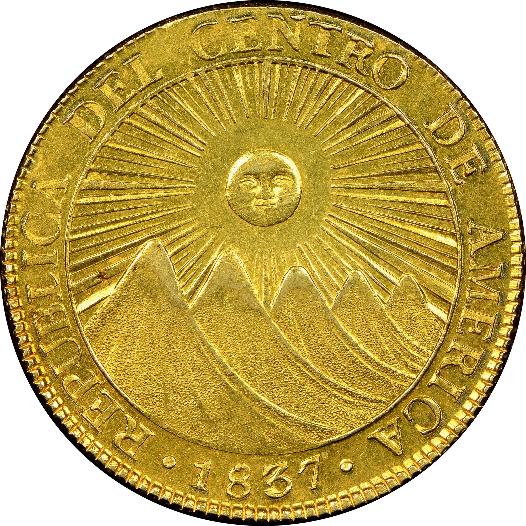 1828-1837 Central American Republic 8 Escudos obverse