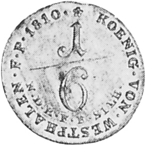 German States WESTPHALIA 1/6 Thaler reverse