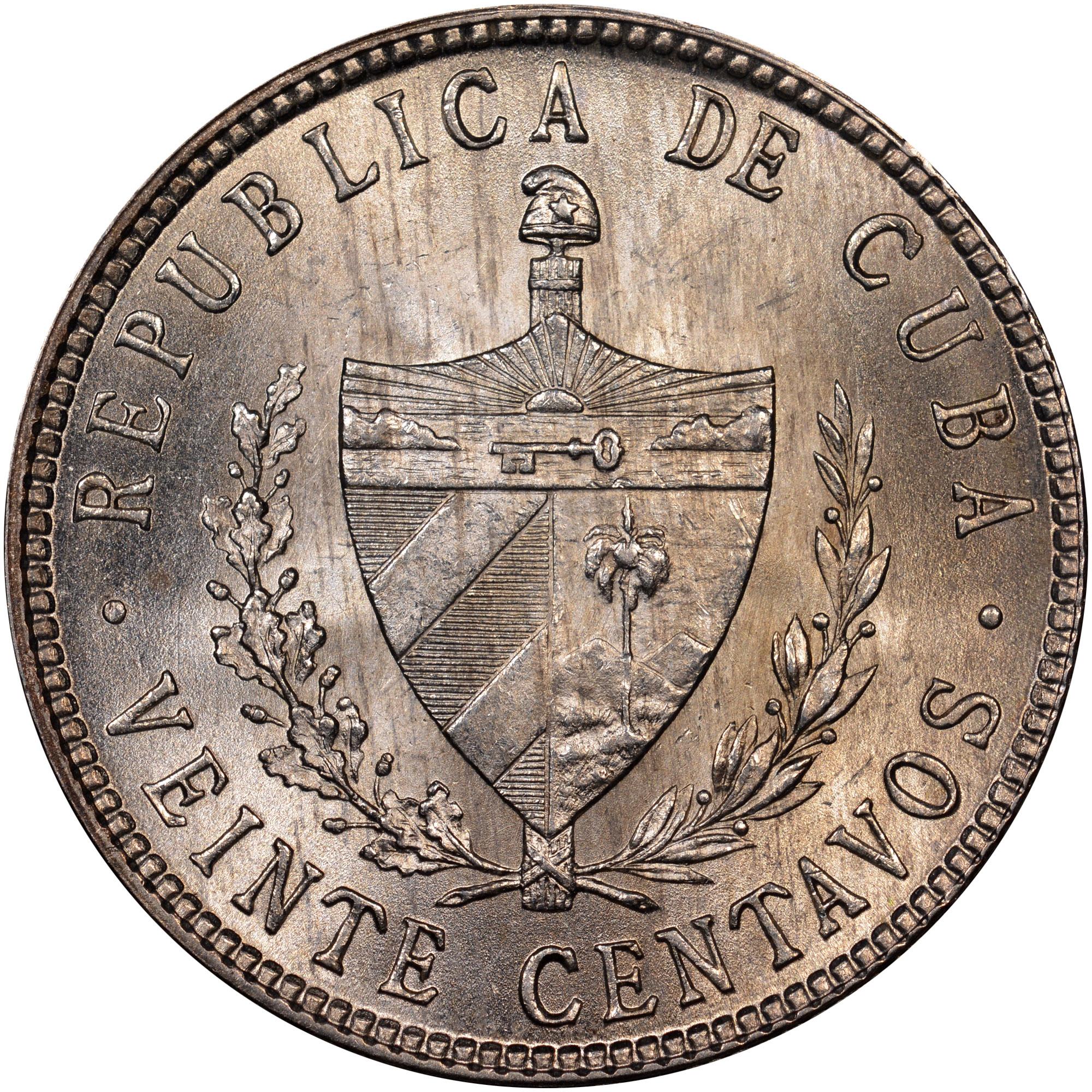 1915-1949 Cuba 20 Centavos obverse