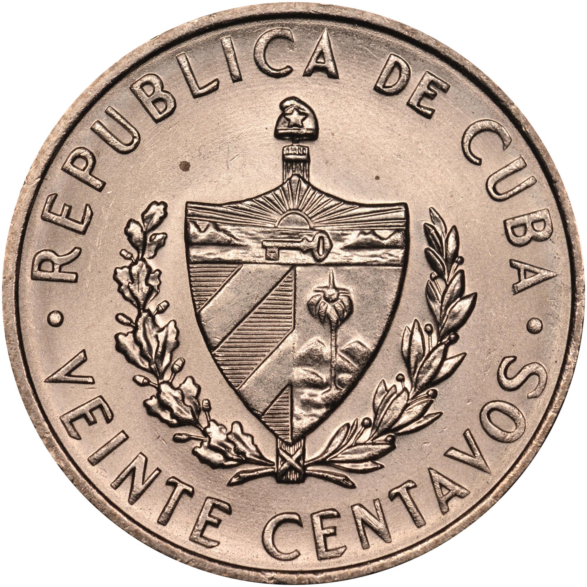 1962-1968 Cuba 20 Centavos obverse