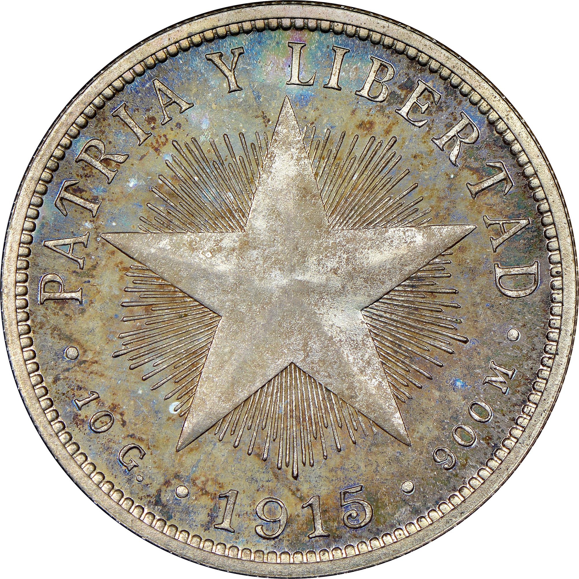 1915-1920 Cuba 40 Centavos reverse
