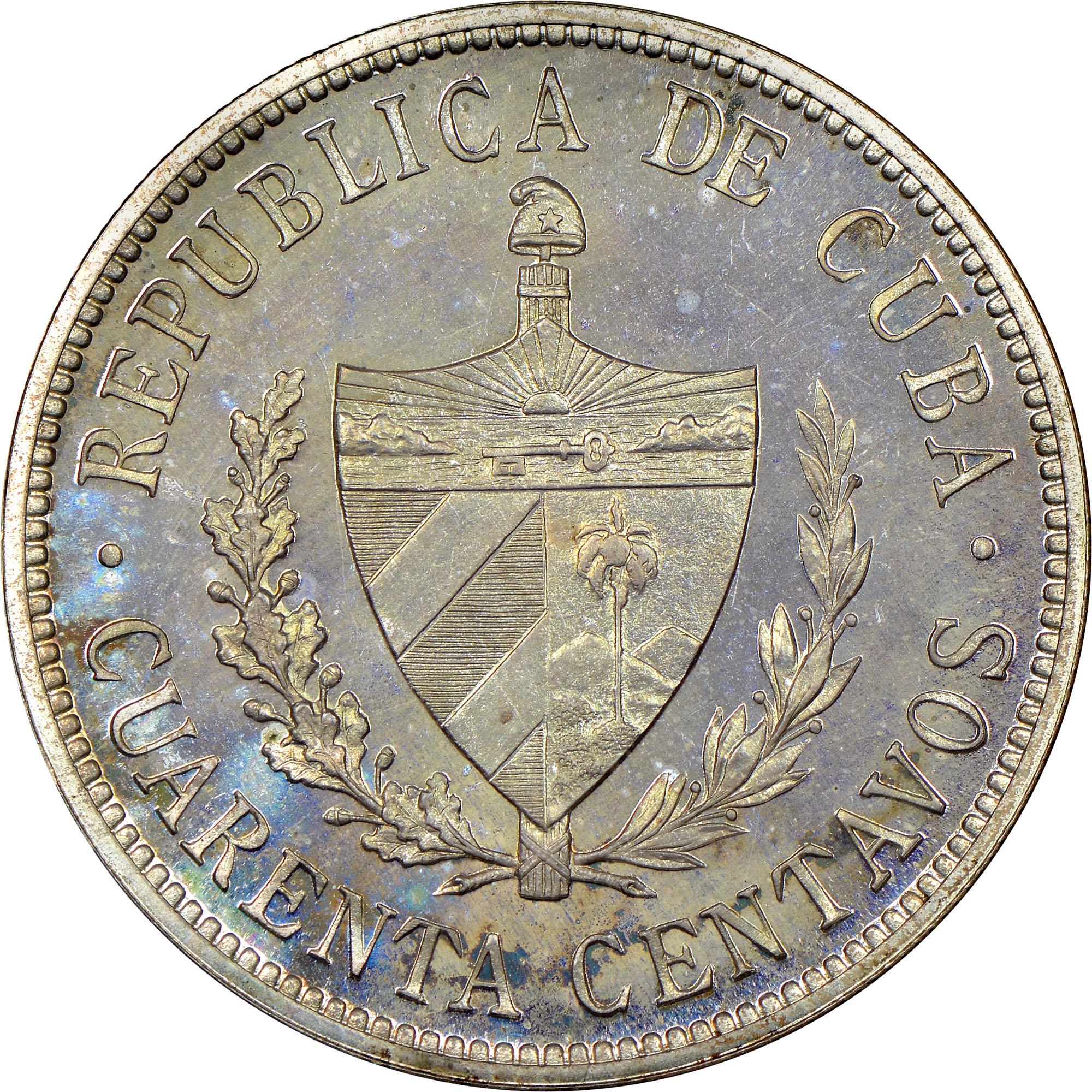 1915-1920 Cuba 40 Centavos obverse