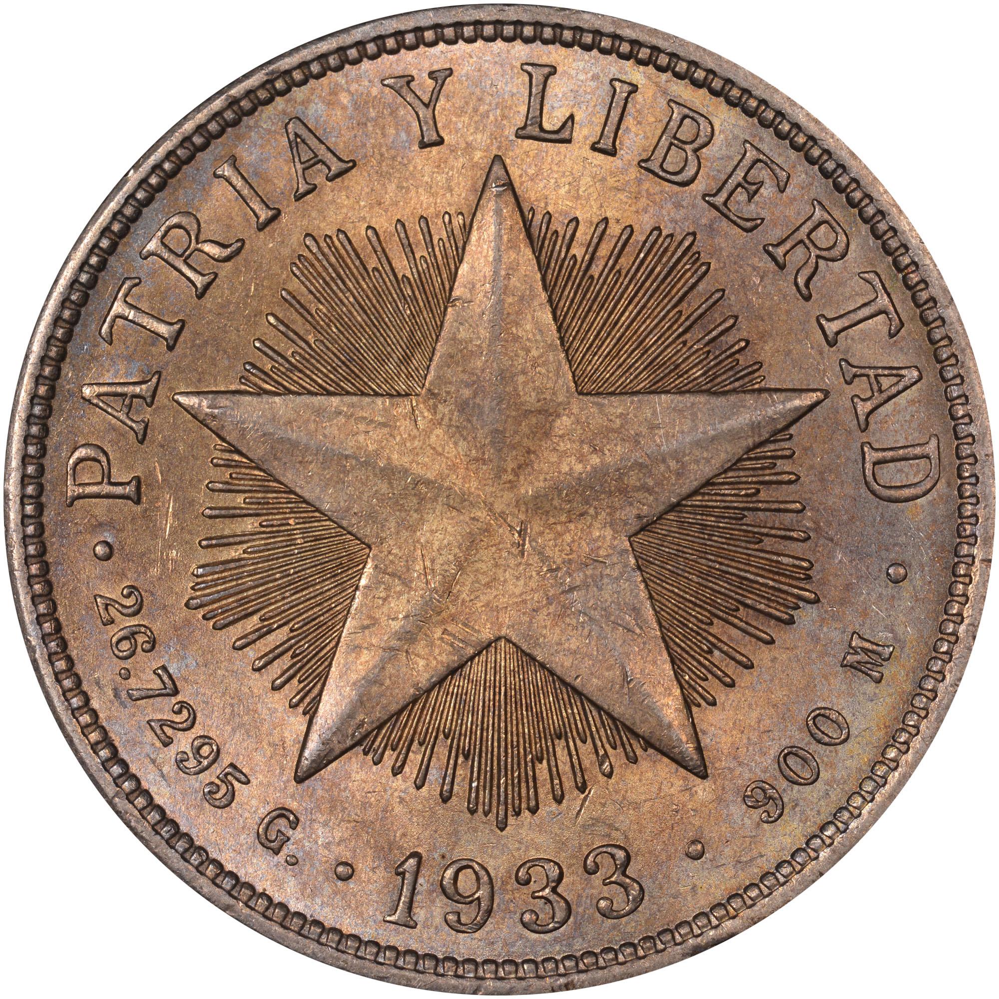 1915-1934 Cuba Peso reverse