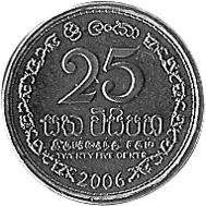 Sri Lanka 25 Cents reverse